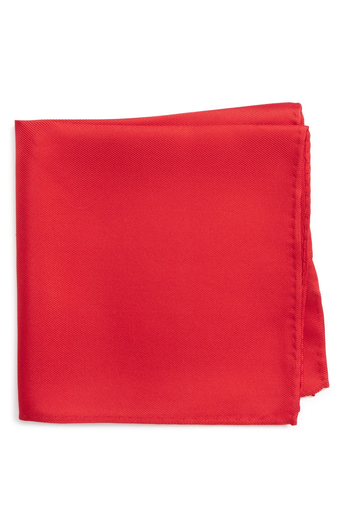 Solid Silk Pocket Square,                         Main,                         color, Red