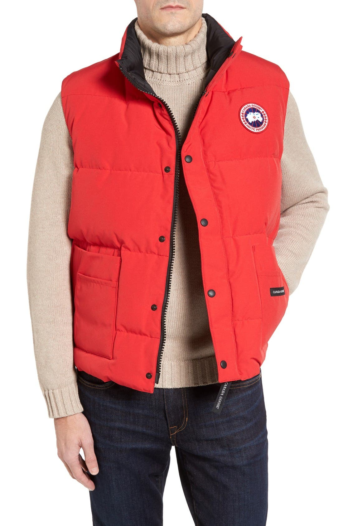 'Freestyle' Water Resistant Regular Fit Down Vest,                             Main thumbnail 1, color,                             Red