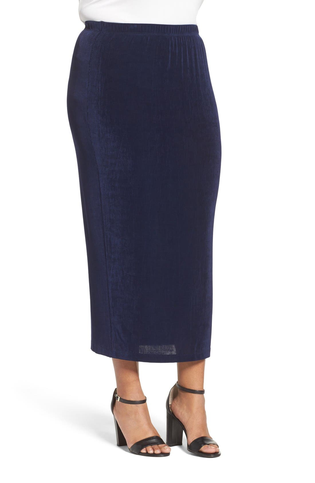 Stretch Knit Straight Maxi Skirt,                             Alternate thumbnail 3, color,                             Navy