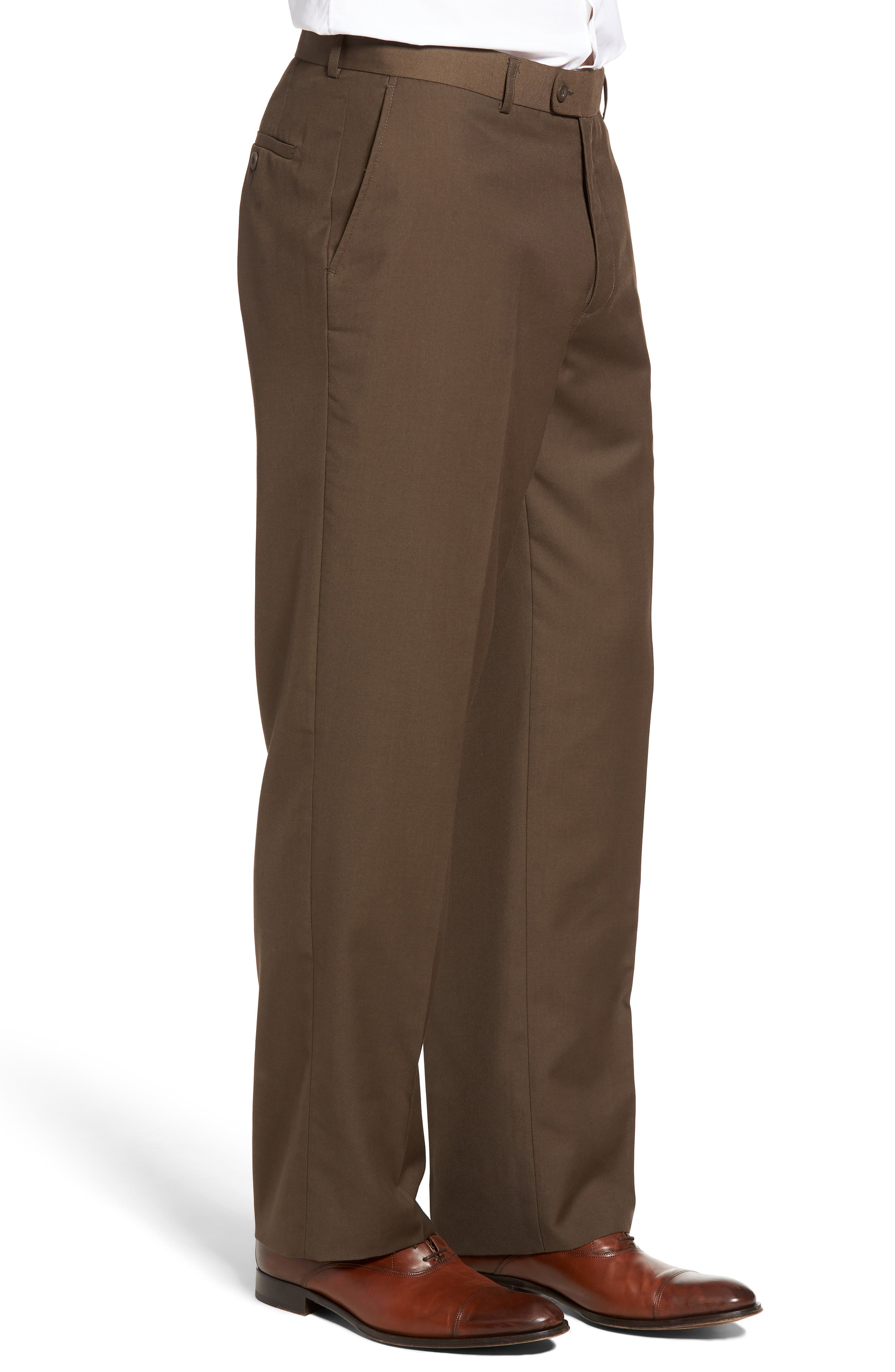 'Travel Genius - Hawk' Flat Front Pants,                             Alternate thumbnail 3, color,                             Brown