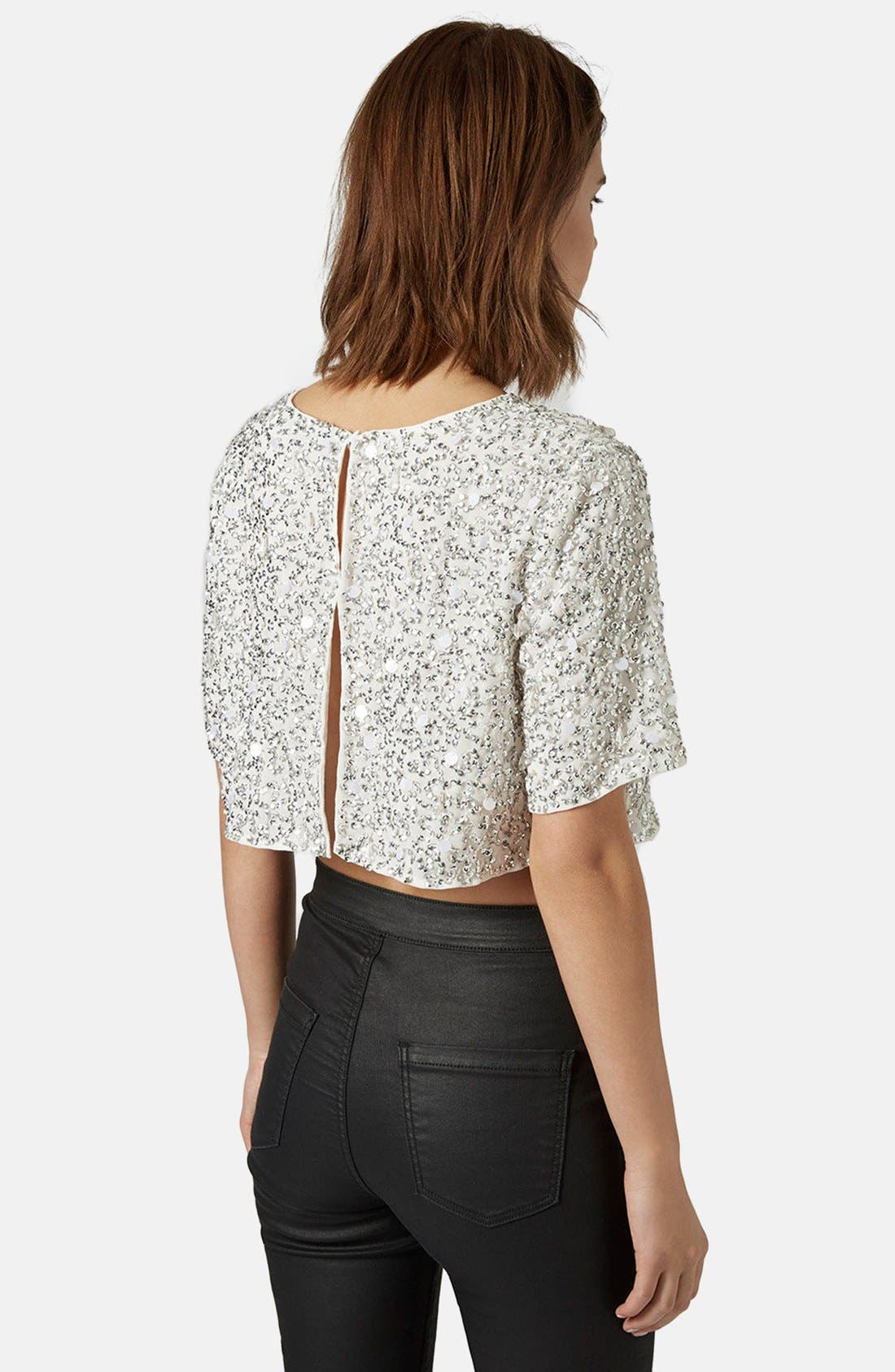 Sequin Crop Tee,                             Alternate thumbnail 2, color,                             White