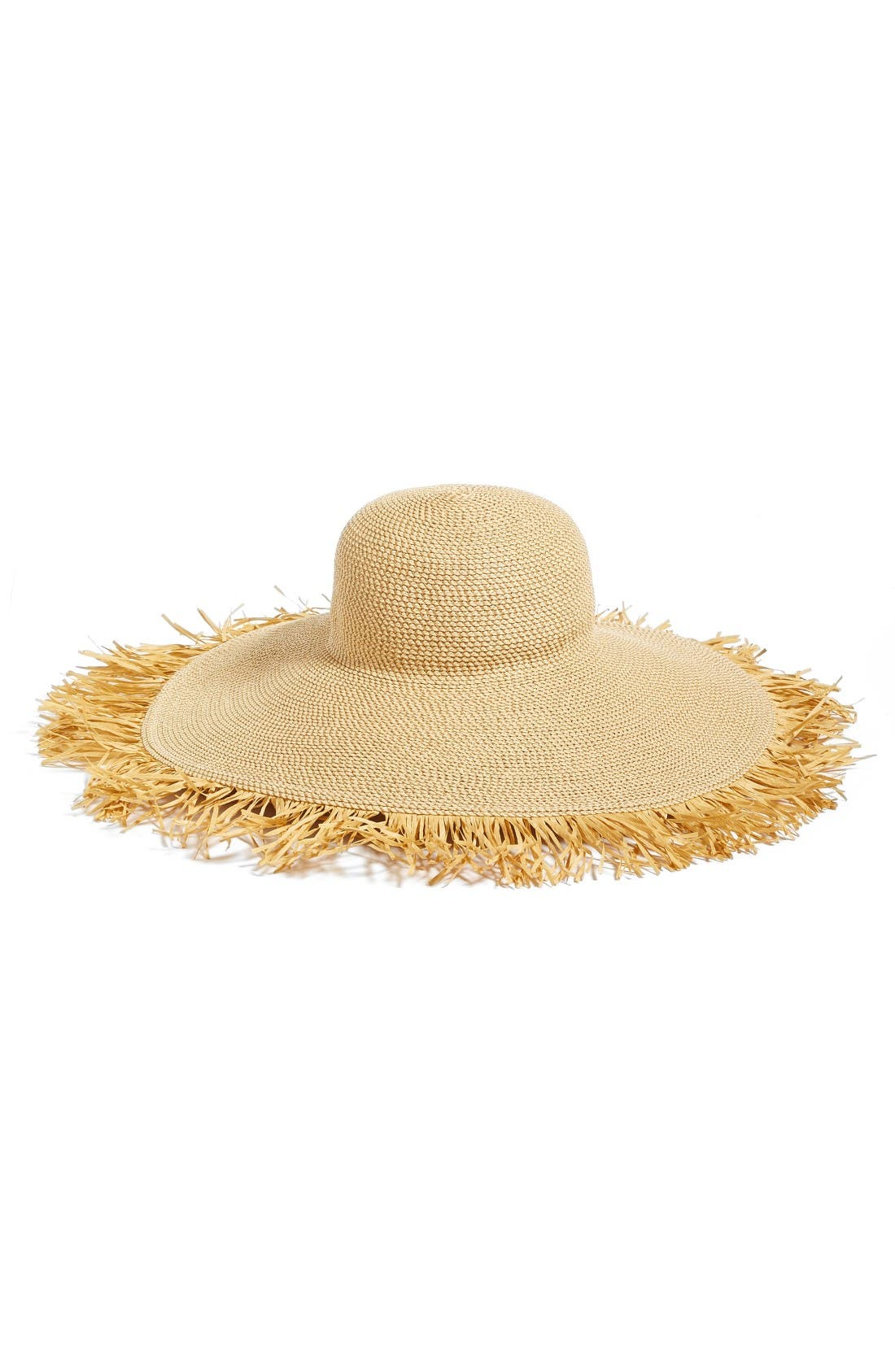 Fringed Squishee<sup>®</sup> Packable Floppy Hat,                         Main,                         color, Peanut