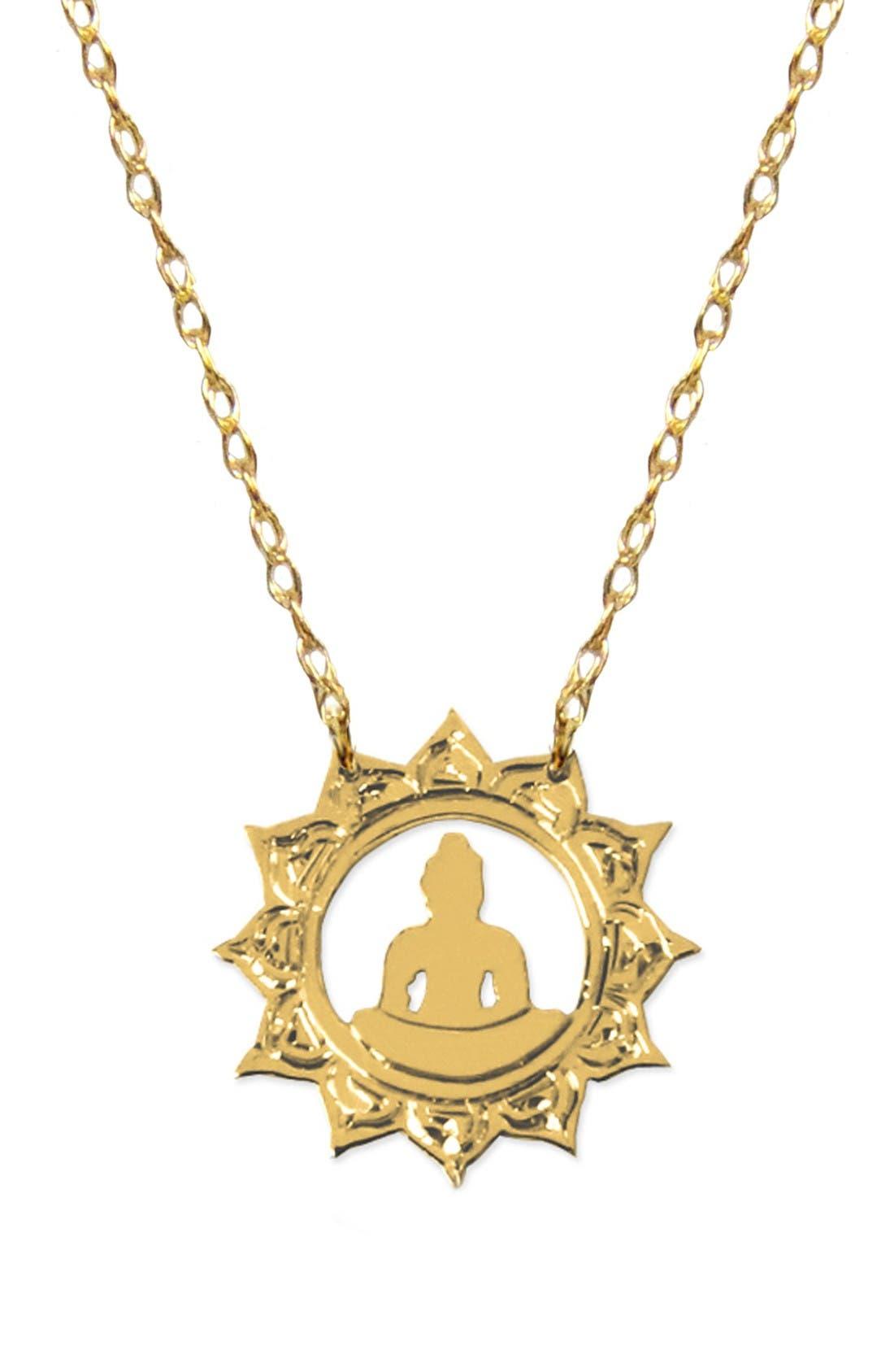Buddha Emoji Pendant Necklace,                             Main thumbnail 1, color,                             Yellow Gold