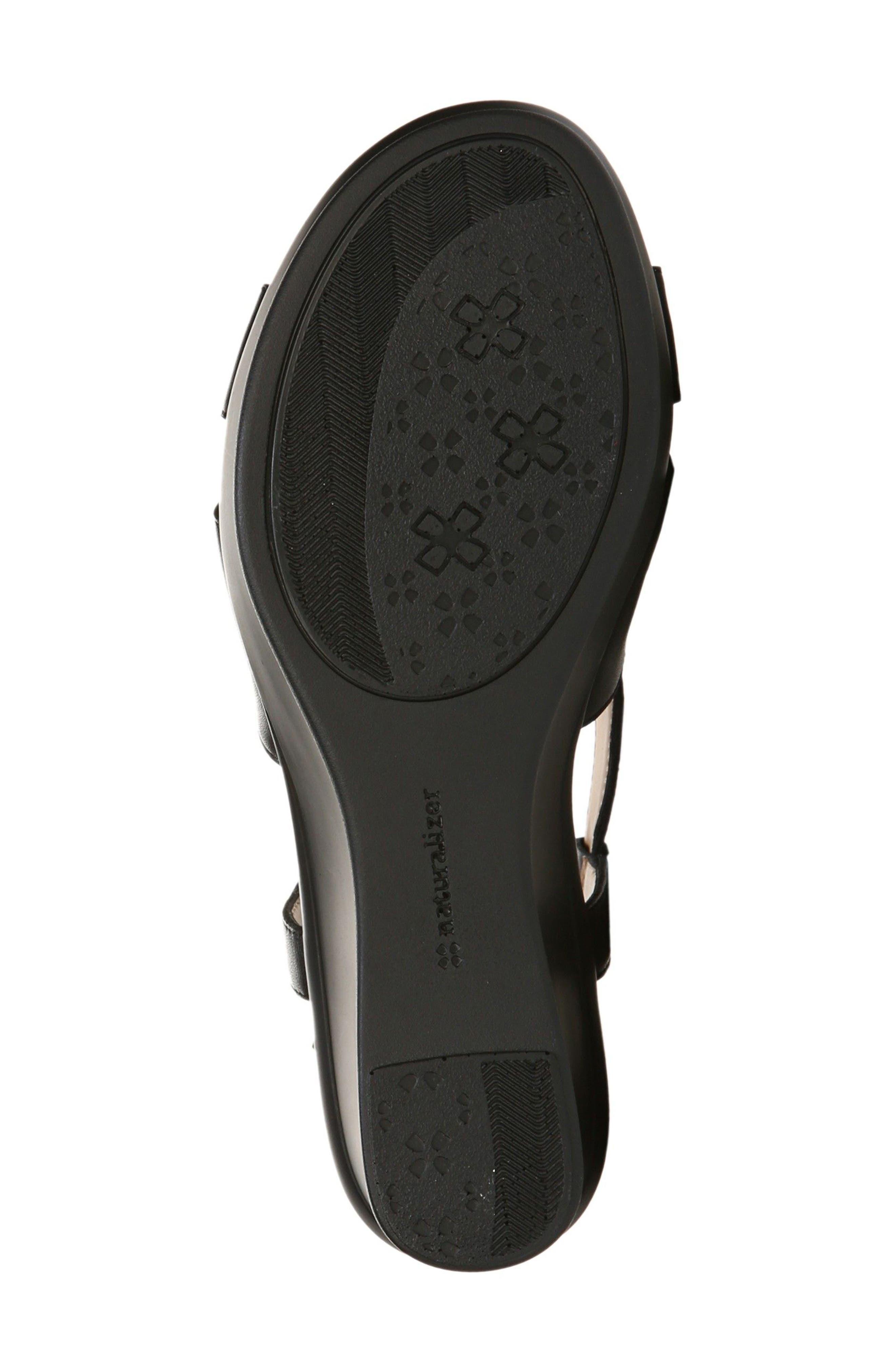Vilette Wedge Sandal,                             Alternate thumbnail 4, color,                             Black Leather
