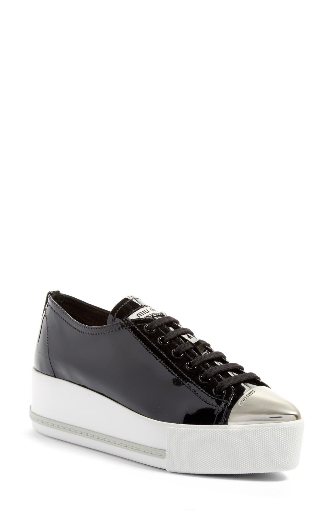 Platform Pointy Cap Toe Sneaker,                             Main thumbnail 1, color,                             Black Patent