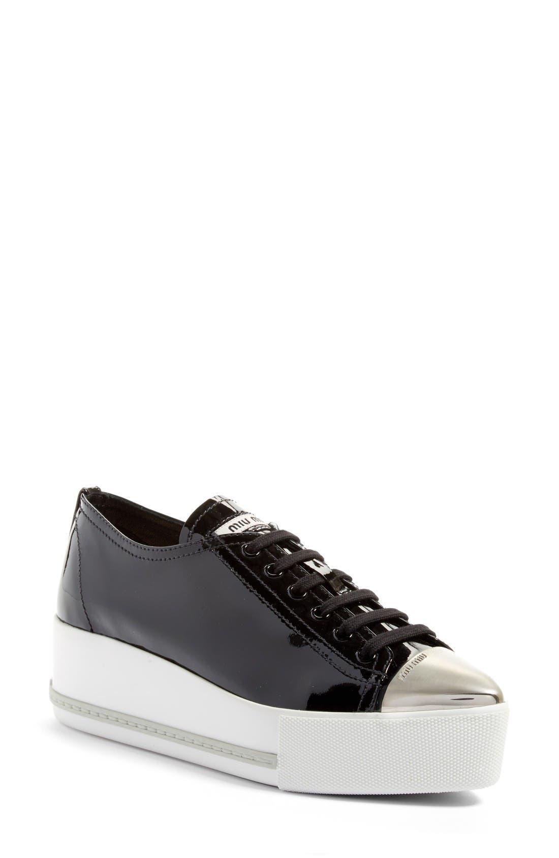 Miu Miu Platform Pointy Cap Toe Sneaker (Women)