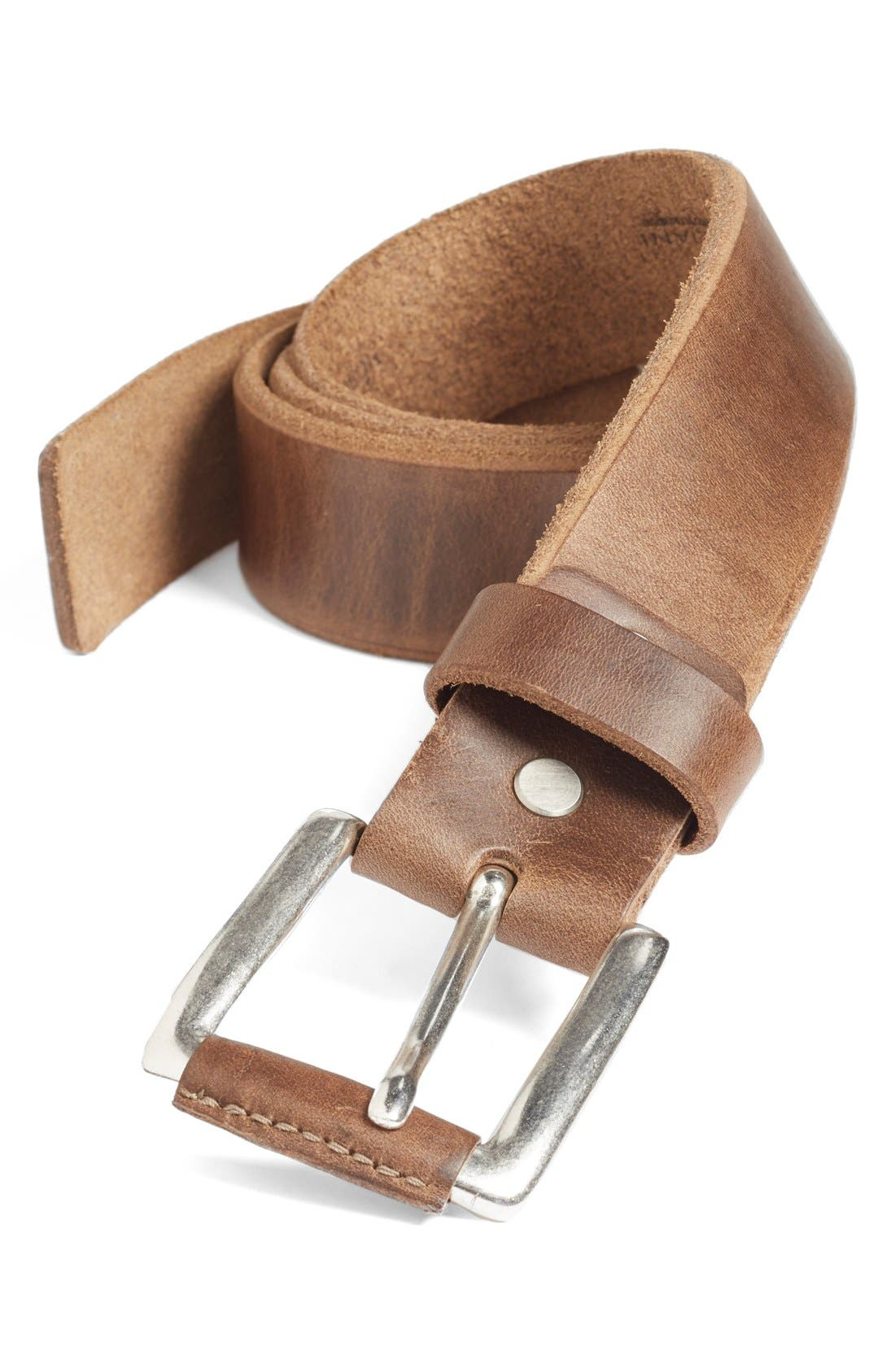'Coraggio' Leather Belt,                             Main thumbnail 1, color,                             Natural