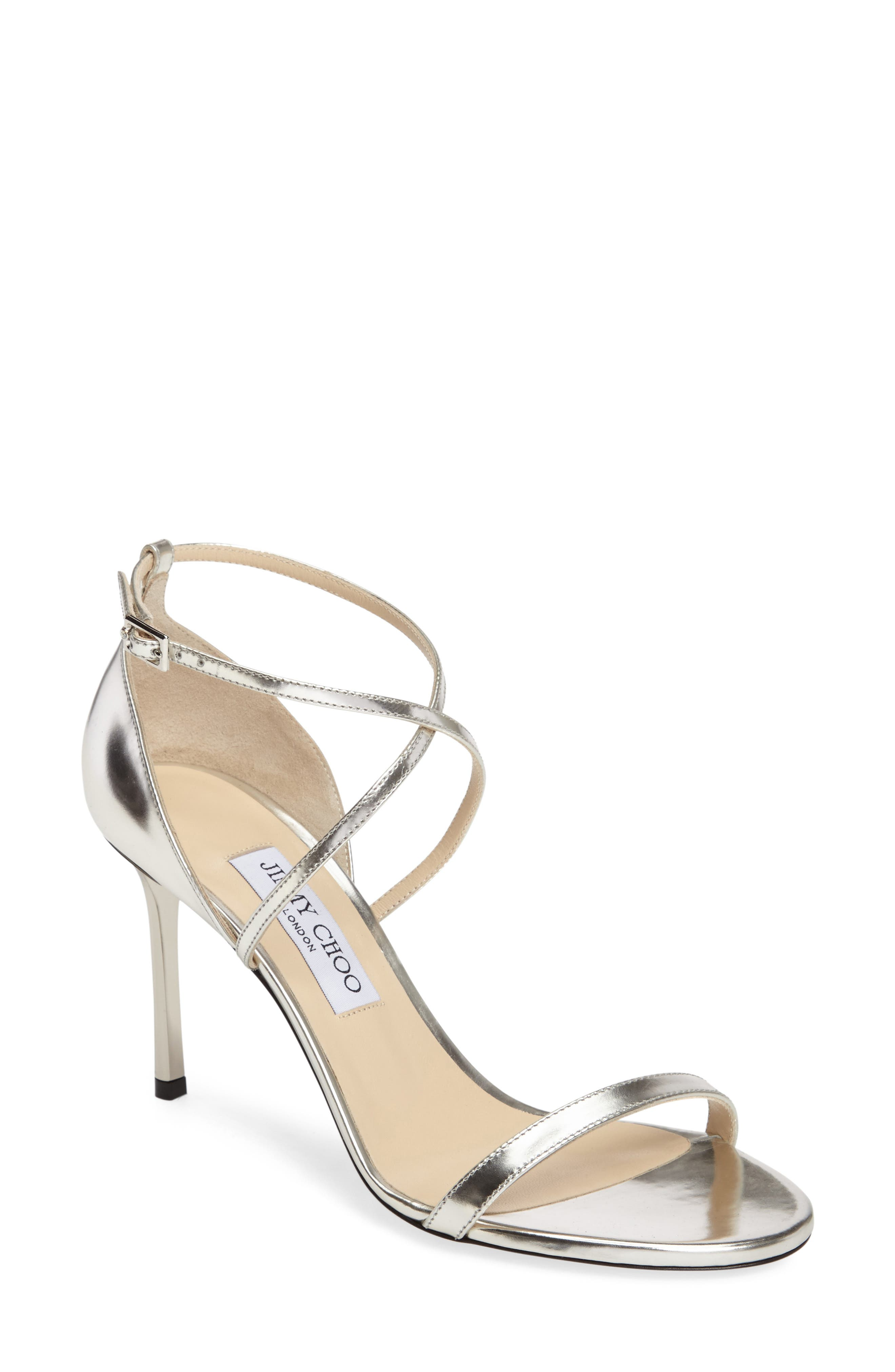 'Hesper' Ankle Strap Sandal,                             Main thumbnail 1, color,                             Silver