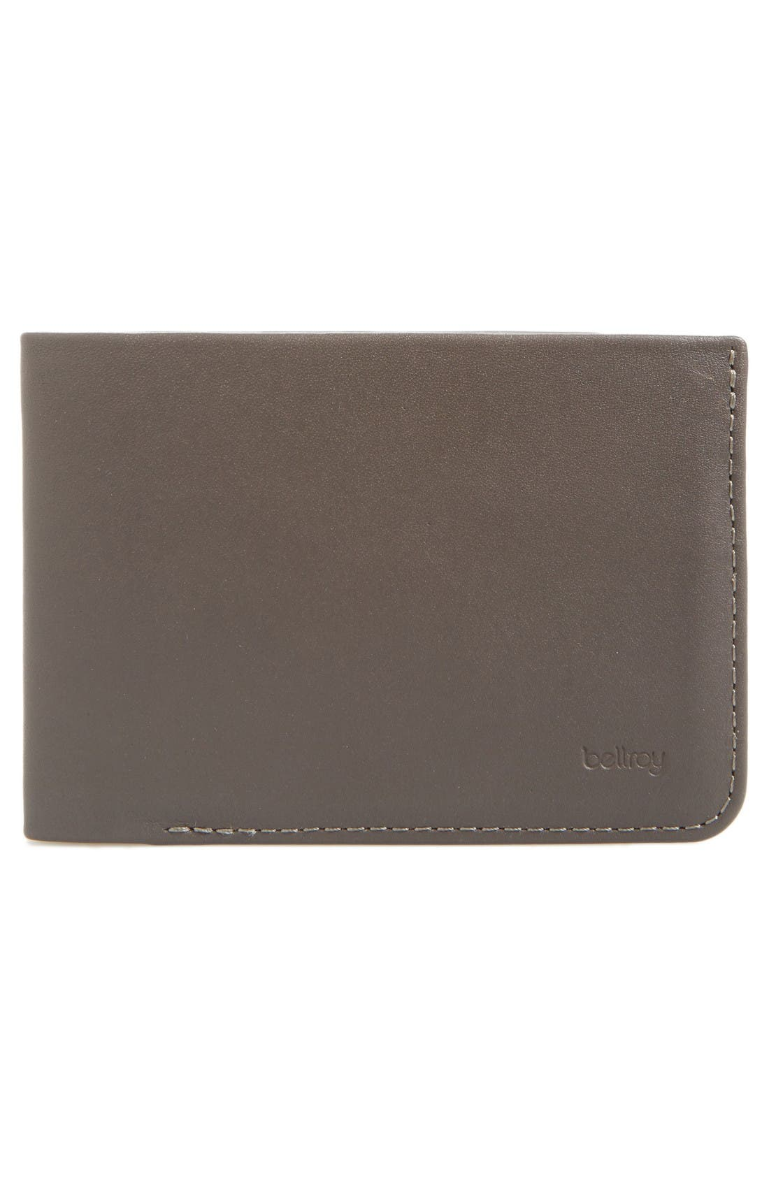 Low Down Leather Wallet,                             Alternate thumbnail 3, color,                             Charcoal
