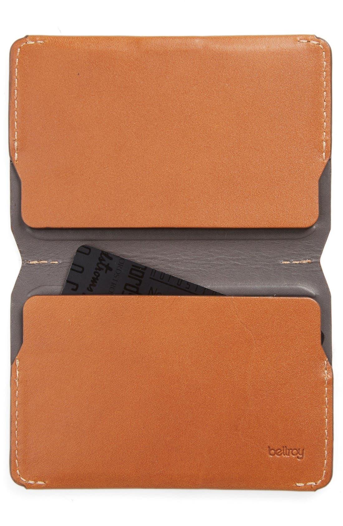 Leather Card Case,                             Alternate thumbnail 2, color,                             Caramel