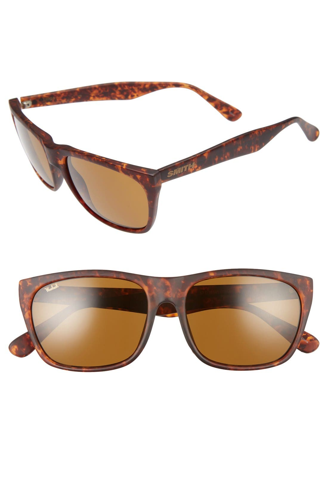 'Tioga' 57mm Sunglasses,                             Main thumbnail 1, color,                             Woolrich Matte Havana/ Brown