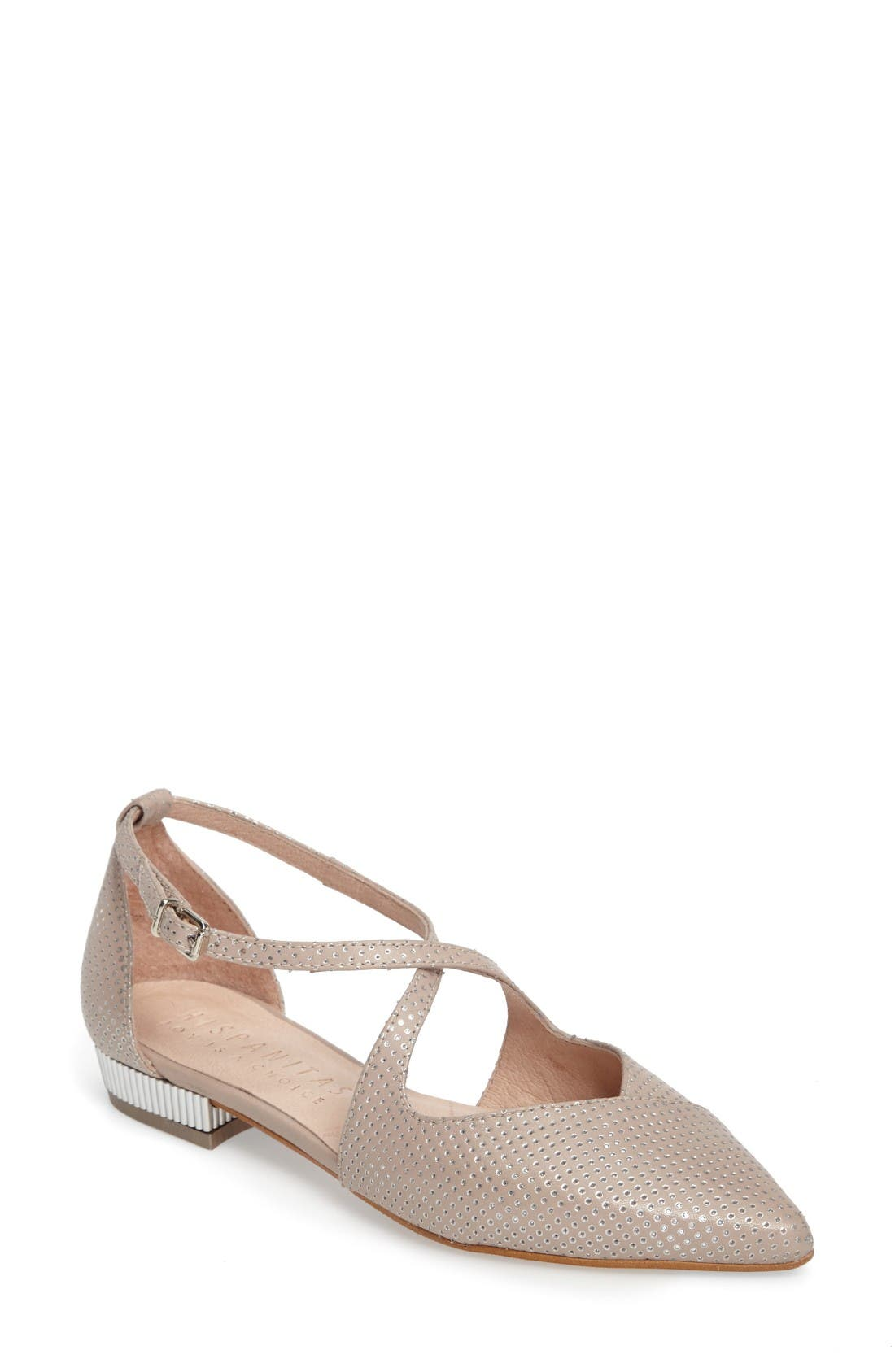 April Perforated Pointy Toe Flat,                             Main thumbnail 1, color,                             Nougat Leather