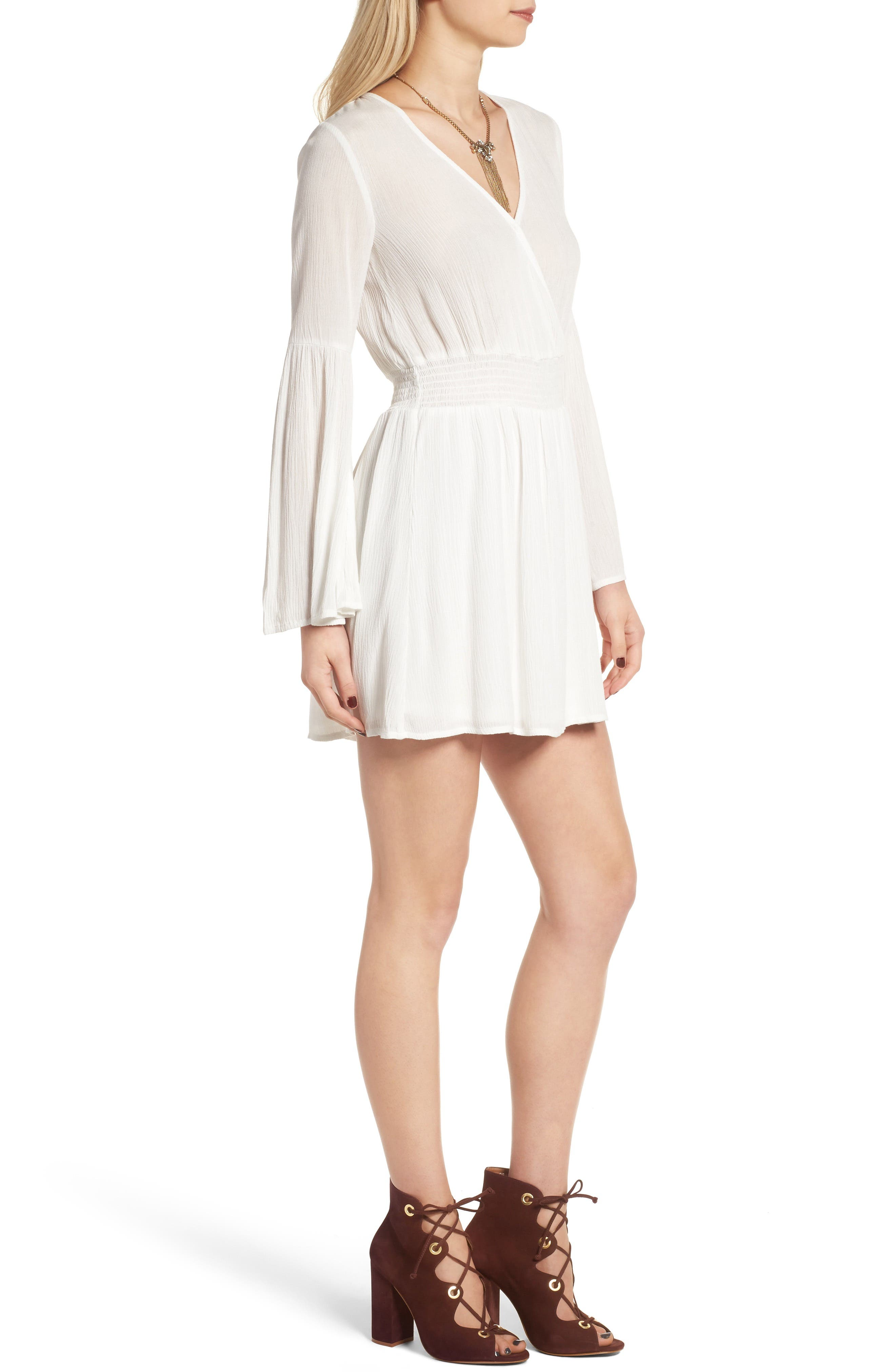 Surplice Bell Sleeve Dress,                             Alternate thumbnail 3, color,                             Ivory
