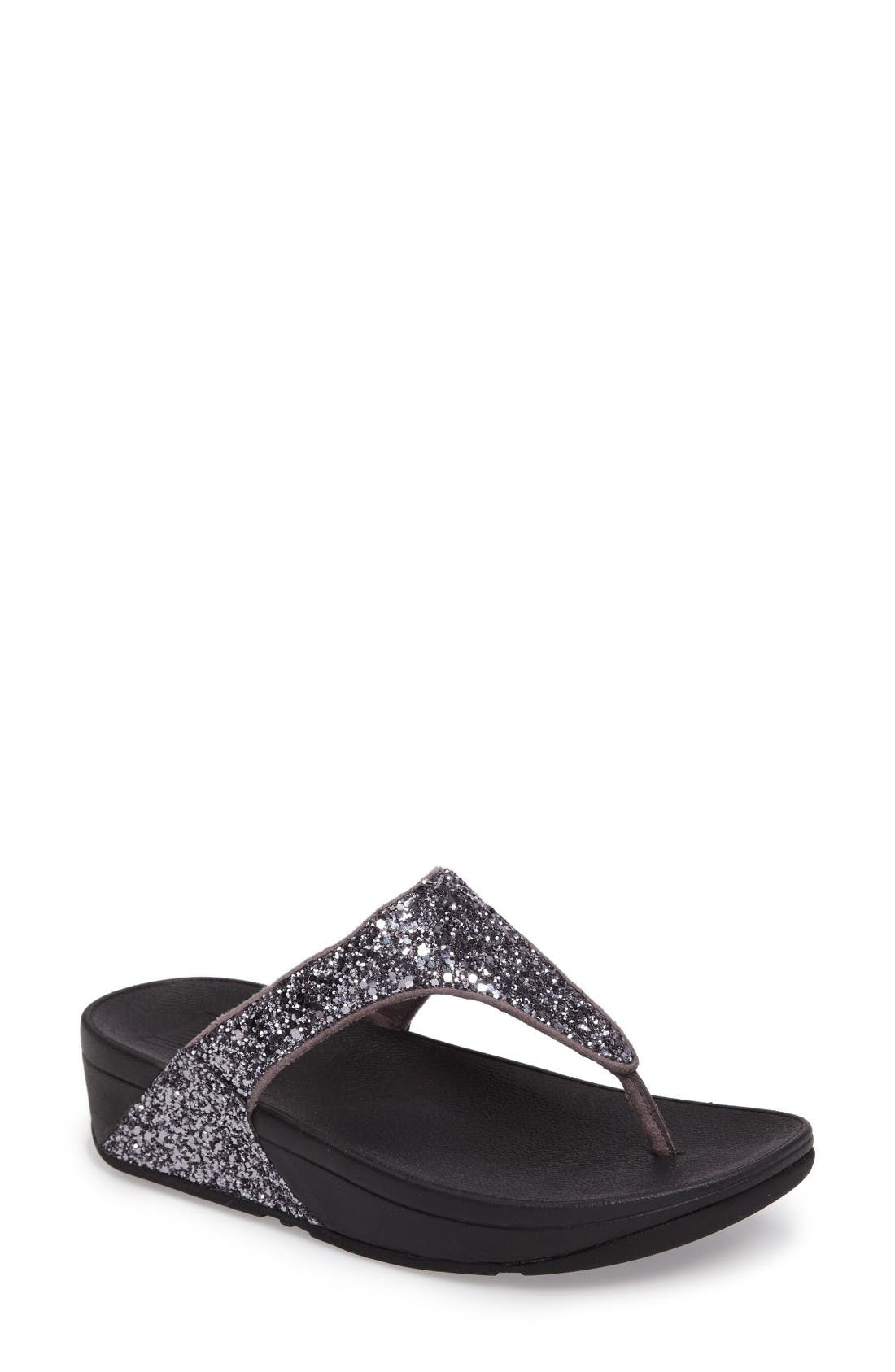 Glitterball<sup>™</sup> Thong Sandal,                         Main,                         color, Pewter Fabric