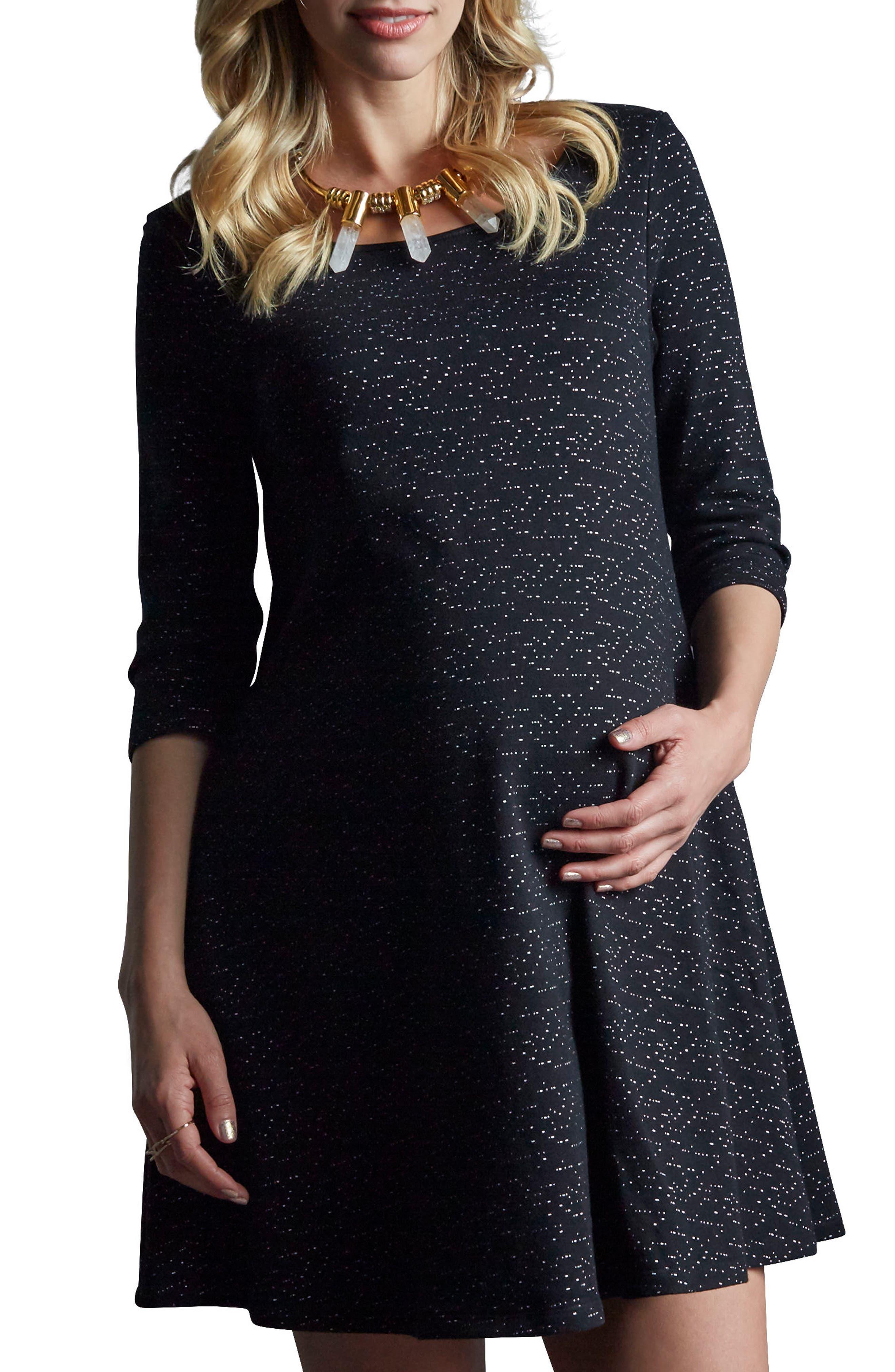 Kate Maternity Dress,                         Main,                         color, Black Space Dye Speckle