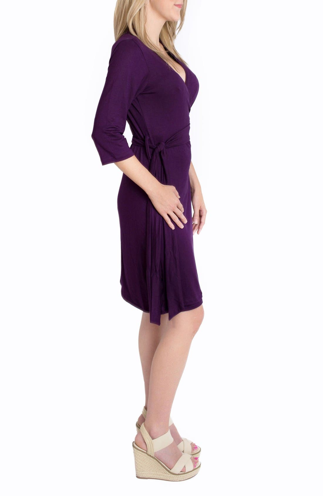 'Whimsical' Nursing Wrap Dress,                             Alternate thumbnail 3, color,                             Plum