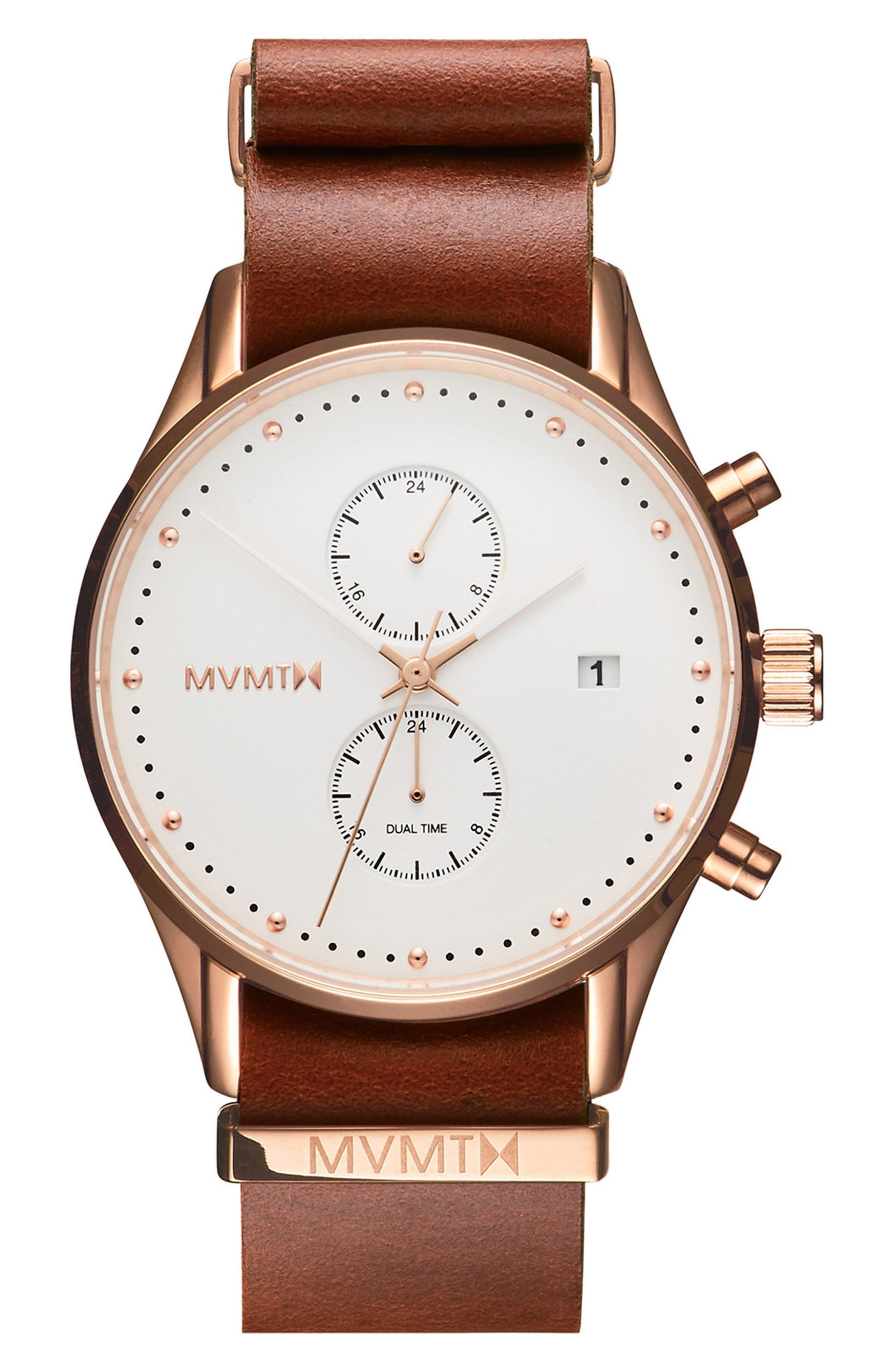 Main Image - MVMT Voyager Chronograph Leather Strap Watch, 42mm