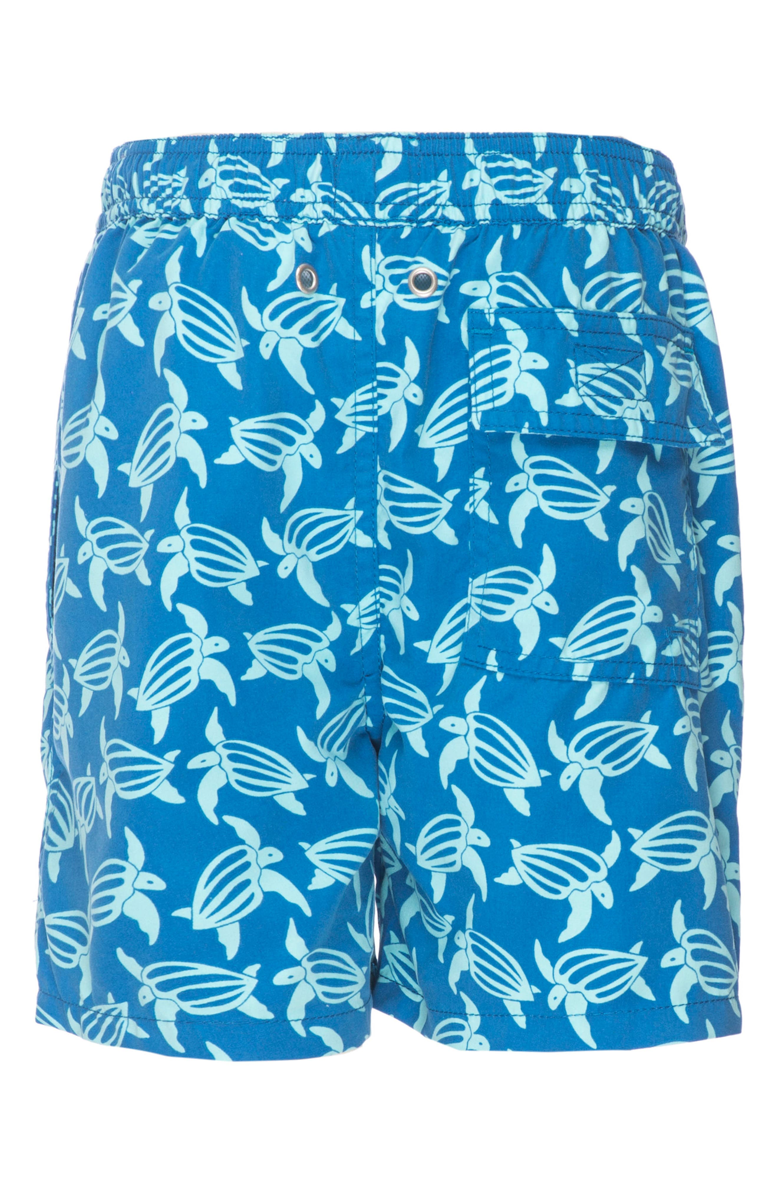Turtle Swim Trunks,                             Alternate thumbnail 5, color,                             Mid Blue/ Sky