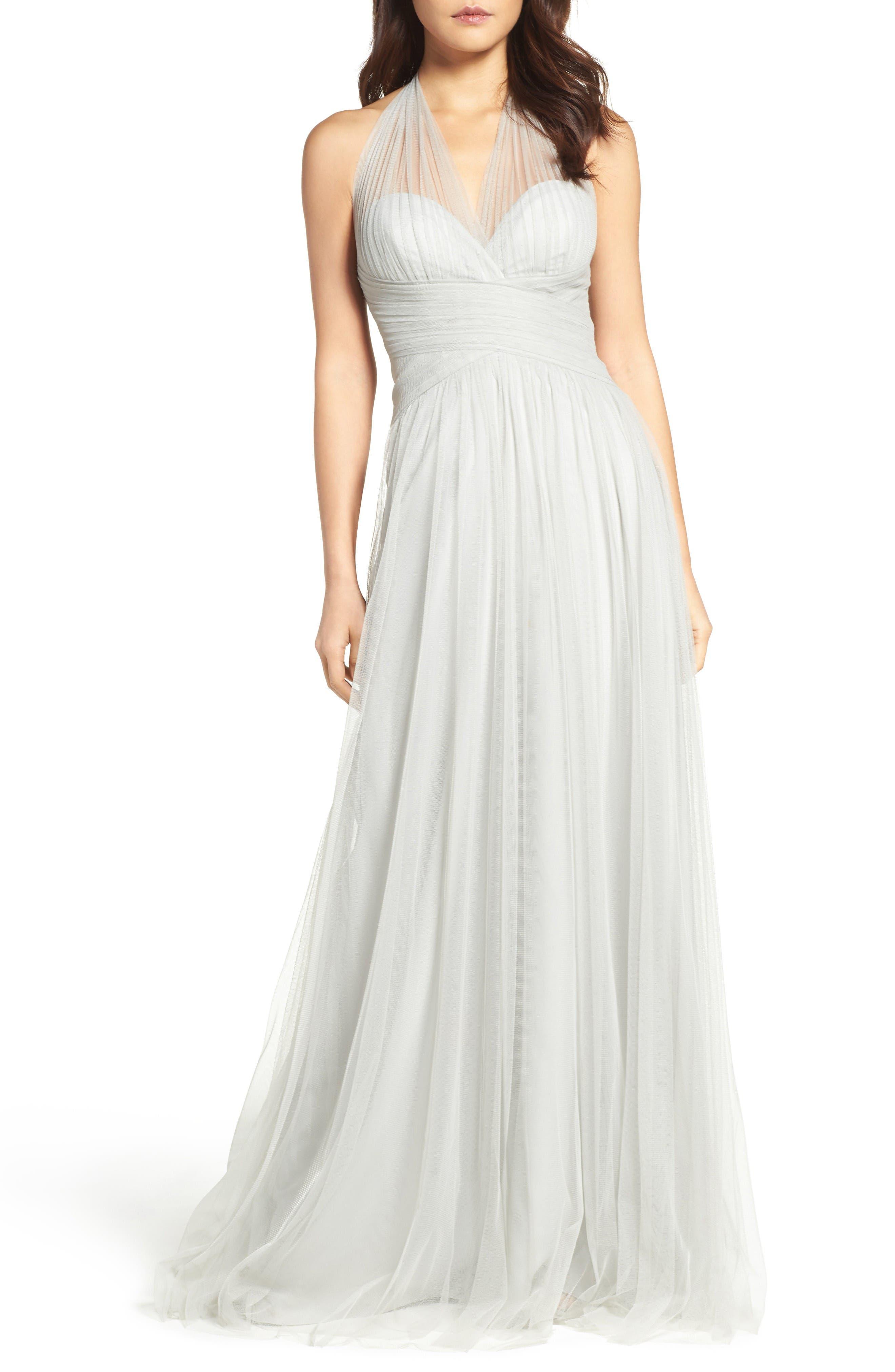 Halter Tulle A-Line Gown,                         Main,                         color, Eucalyptus