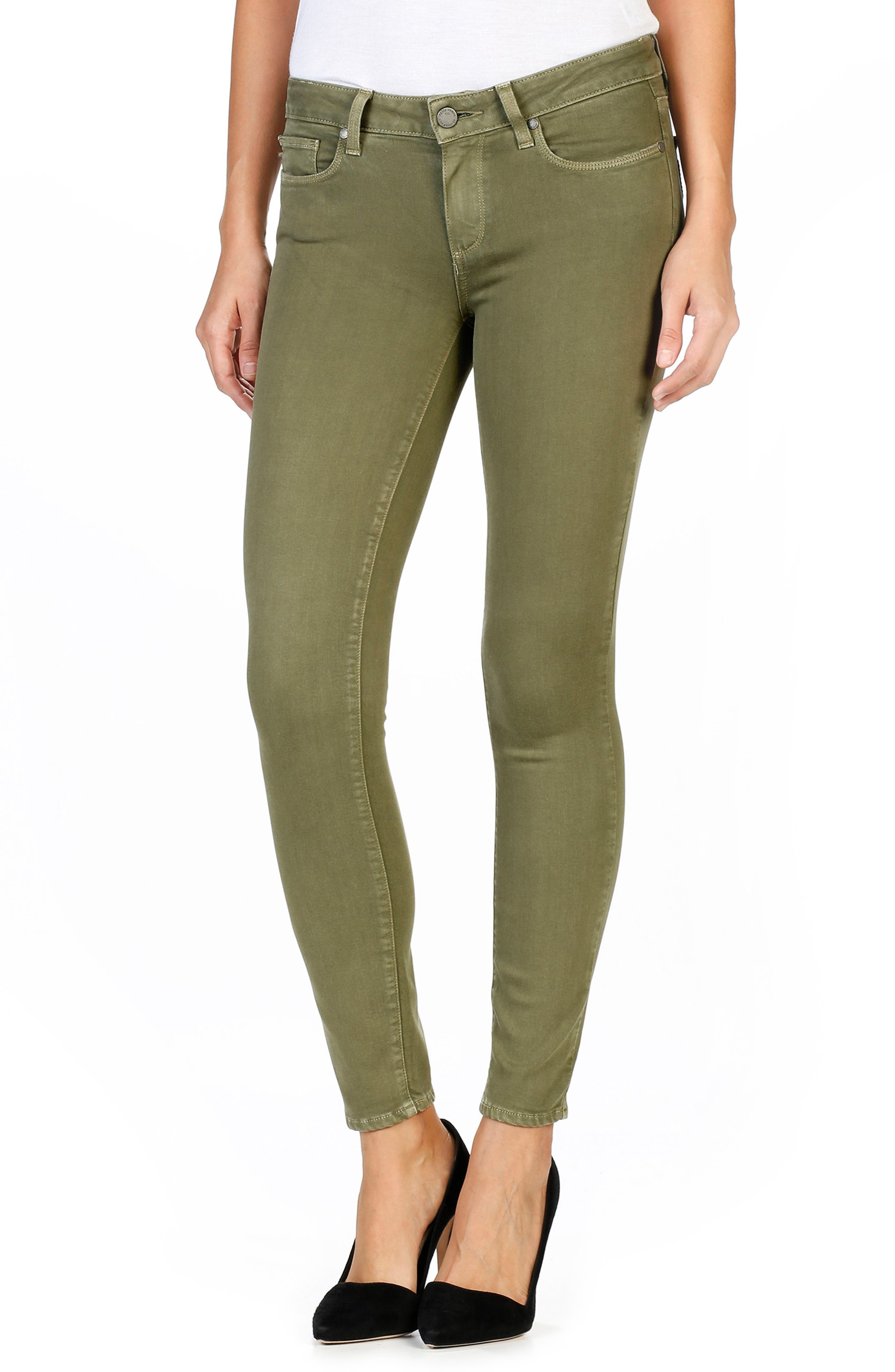 Alternate Image 1 Selected - PAIGE Transcend - Verdugo Ankle Skinny Jeans (Sahara Green)