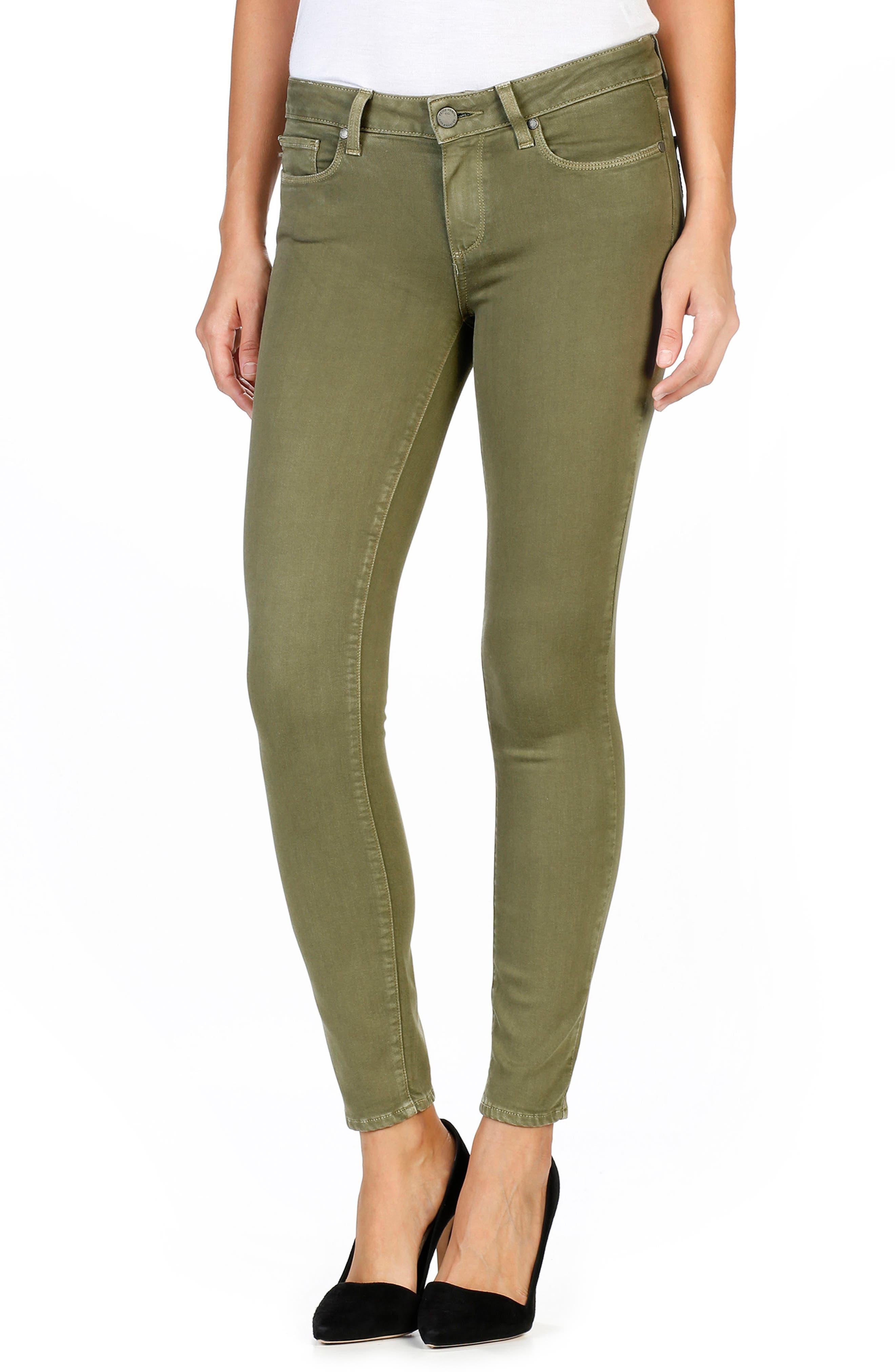 Transcend - Verdugo Ankle Skinny Jeans,                         Main,                         color, Sahara Green
