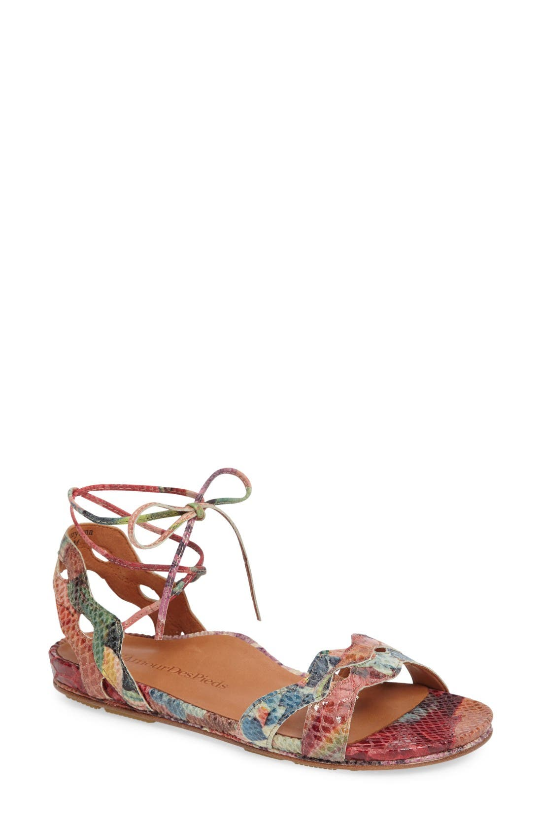 Darrylynn Wraparound Lace-Up Sandal,                             Main thumbnail 1, color,                             Bright Multi Printed Leather