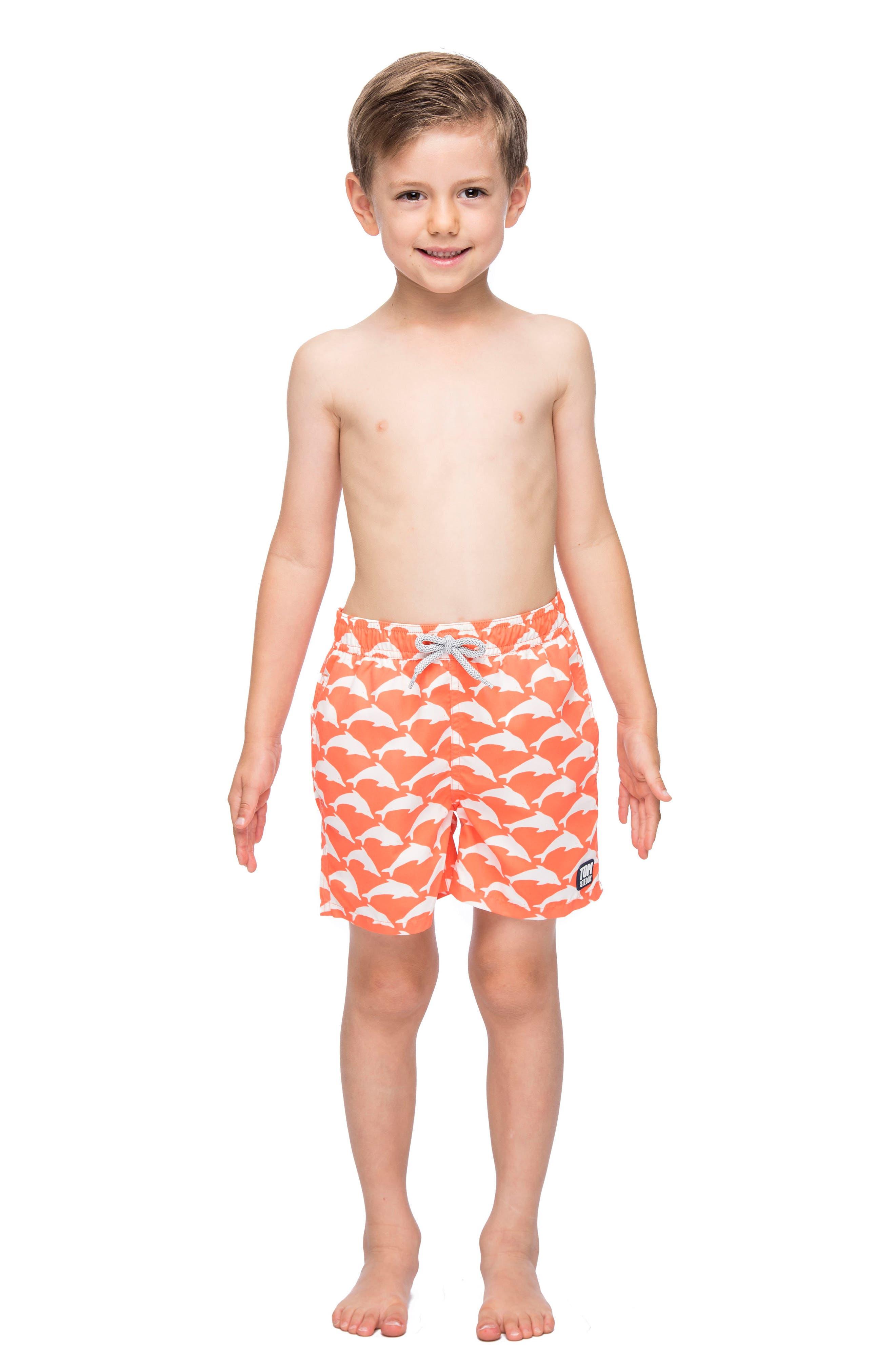 Alternate Image 3  - Tom & Teddy Dolphin Swim Trunks (Toddler Boys, Little Boys & Big Boys)