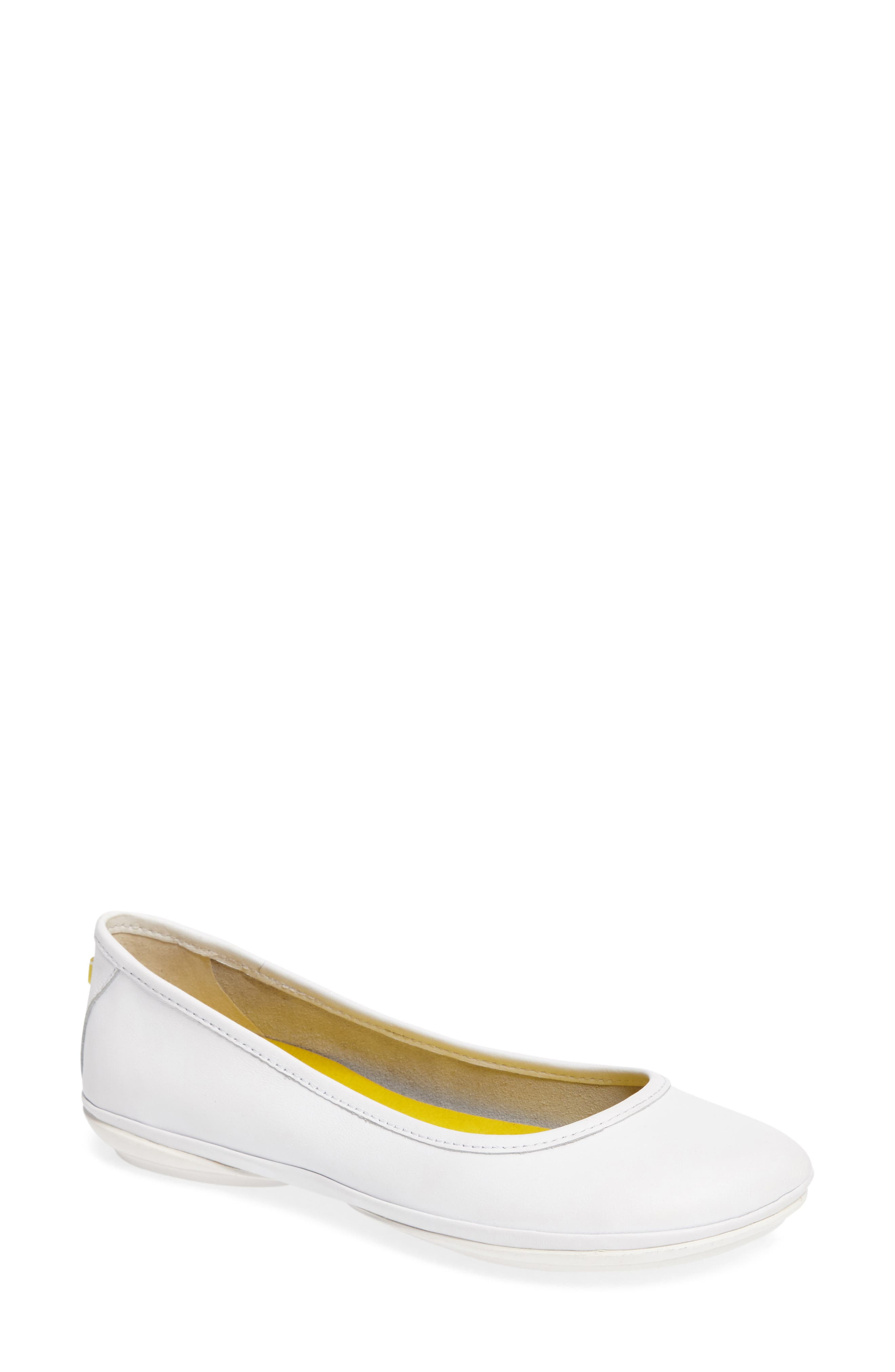 Right Nina Ballet Flat,                         Main,                         color, White Leather