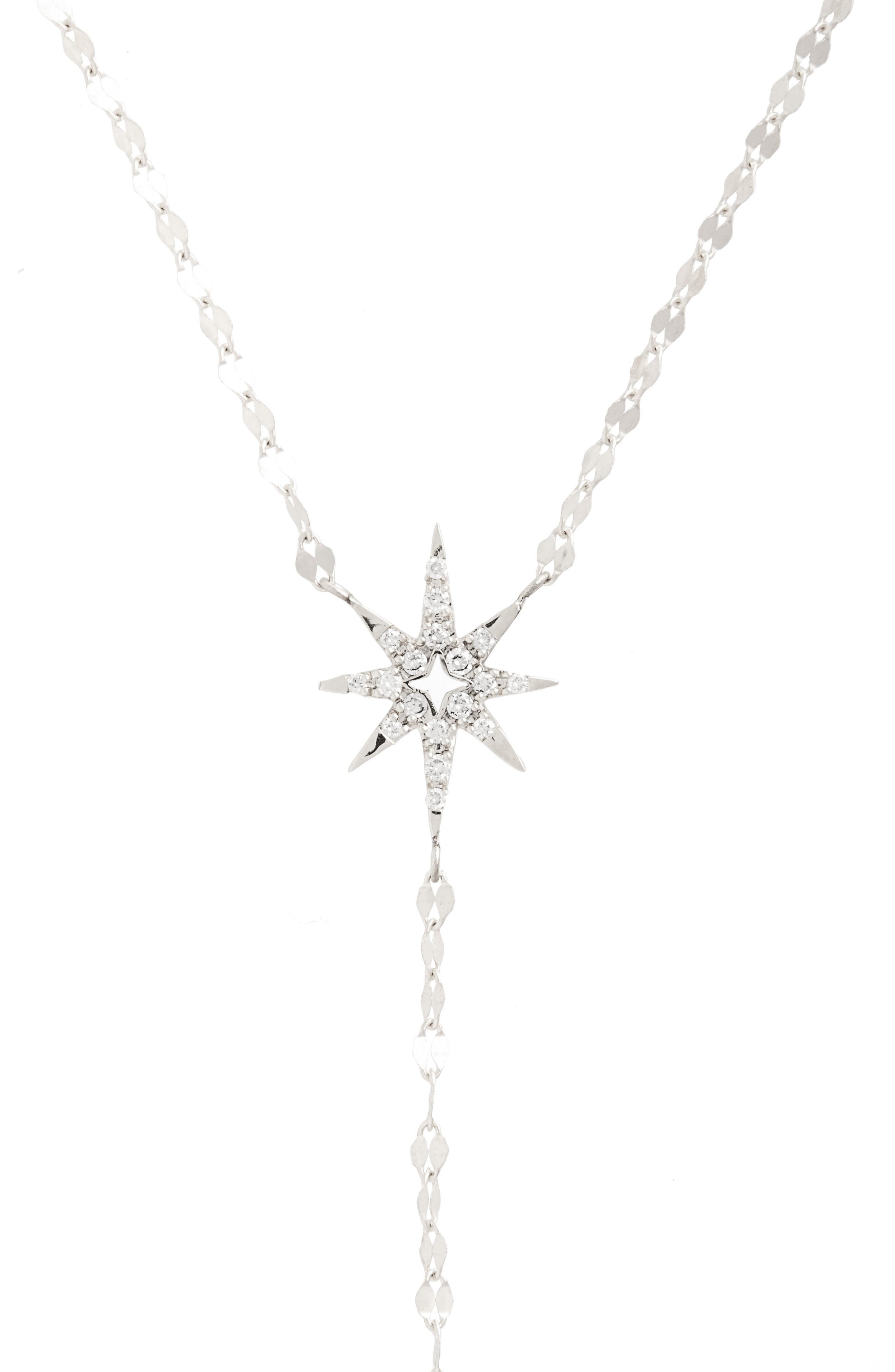 Flawless Diamond Star Y-Necklace,                             Alternate thumbnail 2, color,                             White Gold
