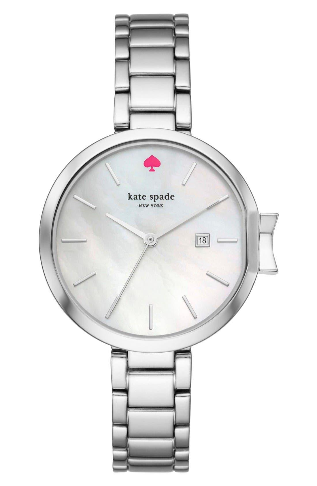 park row bracelet watch, 34mm,                         Main,                         color, Silver