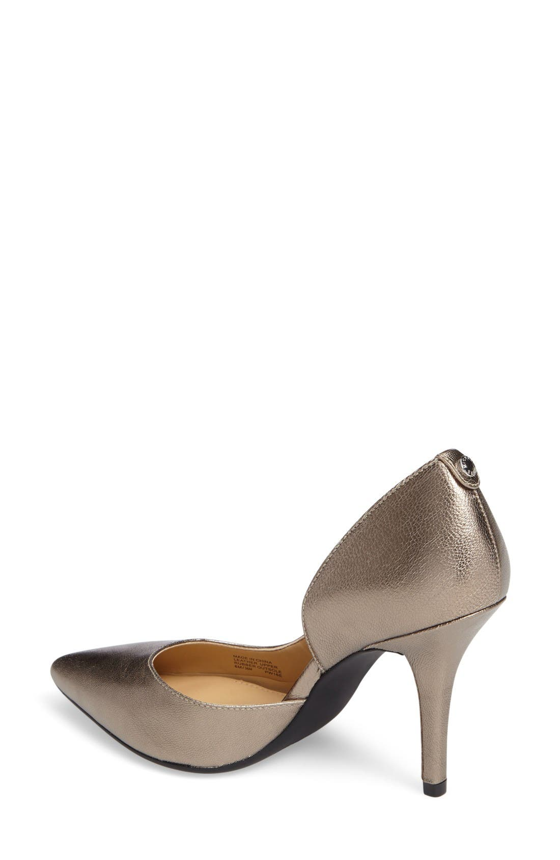 Nathalie Demi d'Orsay Pointy Toe Pump,                             Alternate thumbnail 2, color,                             Nickel