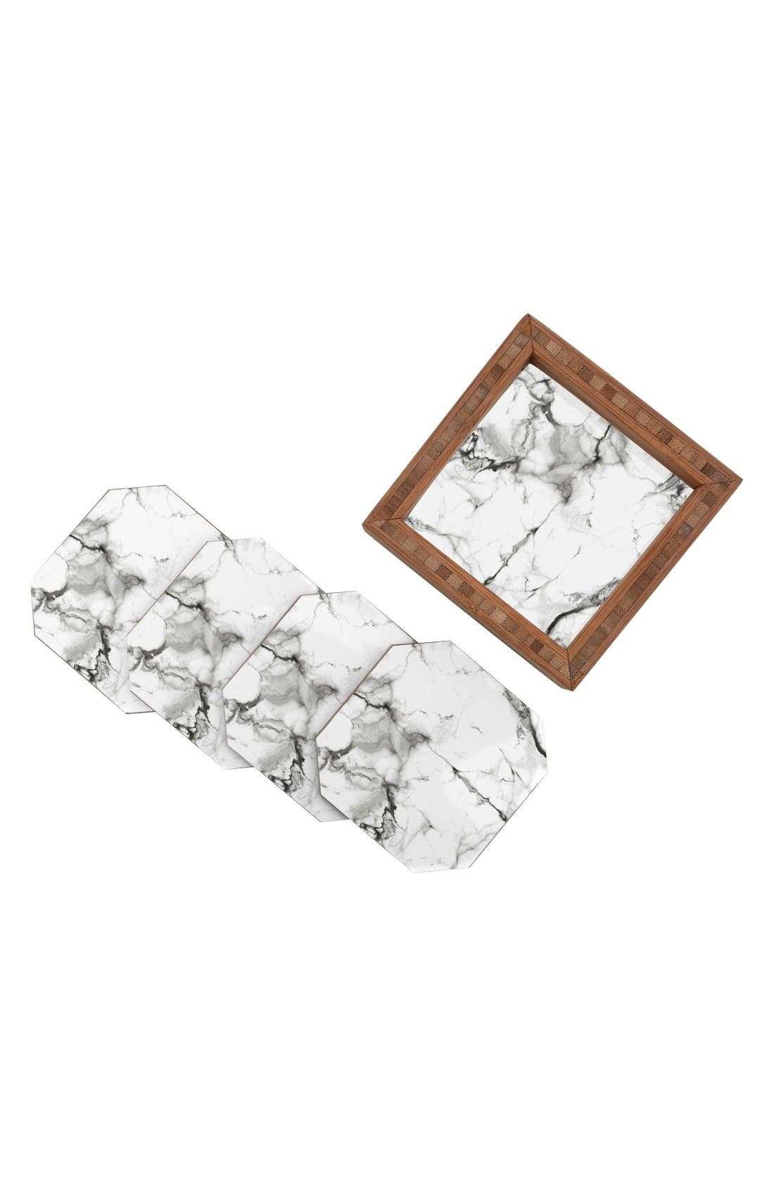 Marble Set of 4 Coasters,                             Alternate thumbnail 2, color,                             White