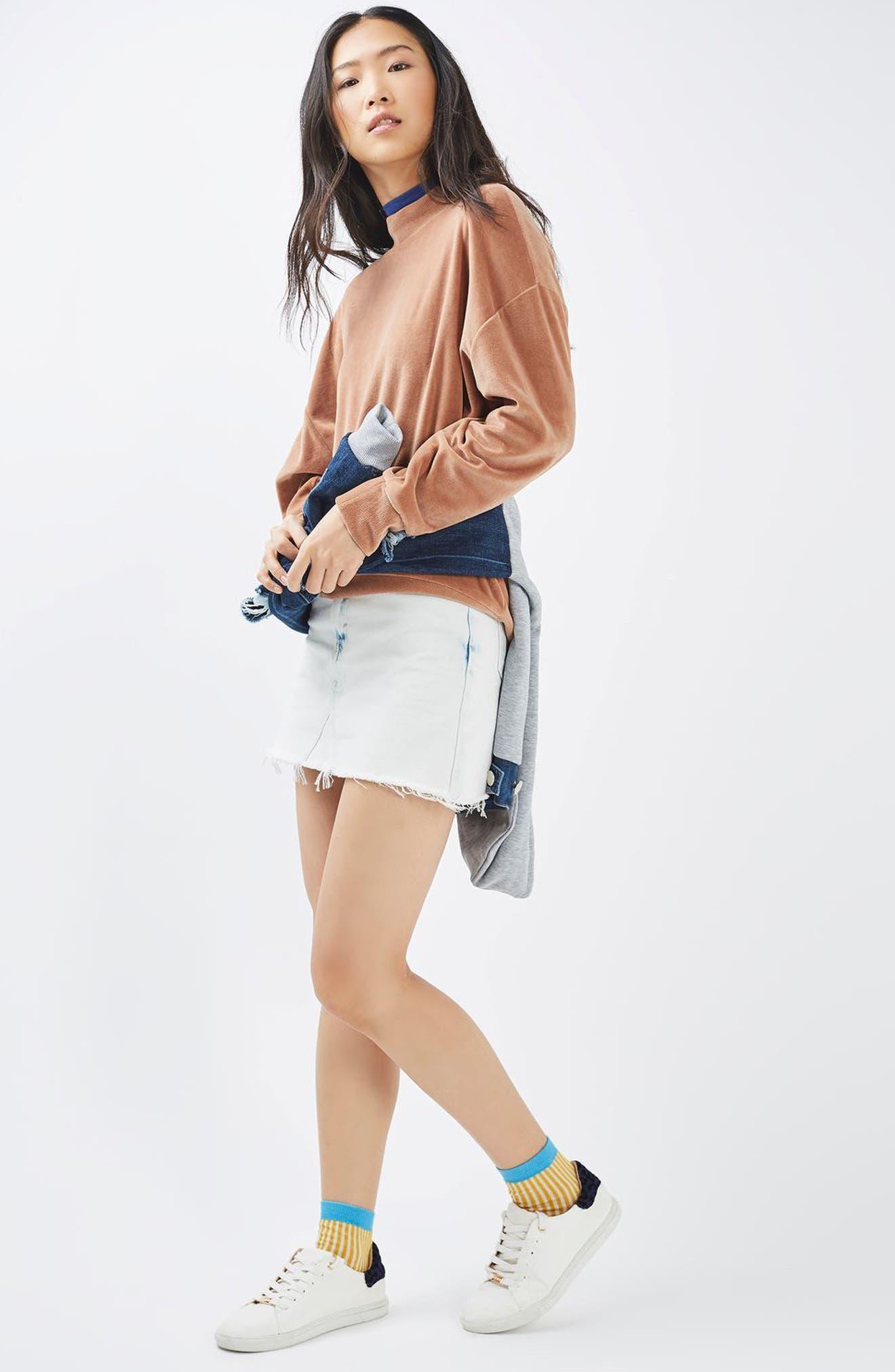 Alternate Image 2  - Topshop Moto Bleach Denim Miniskirt