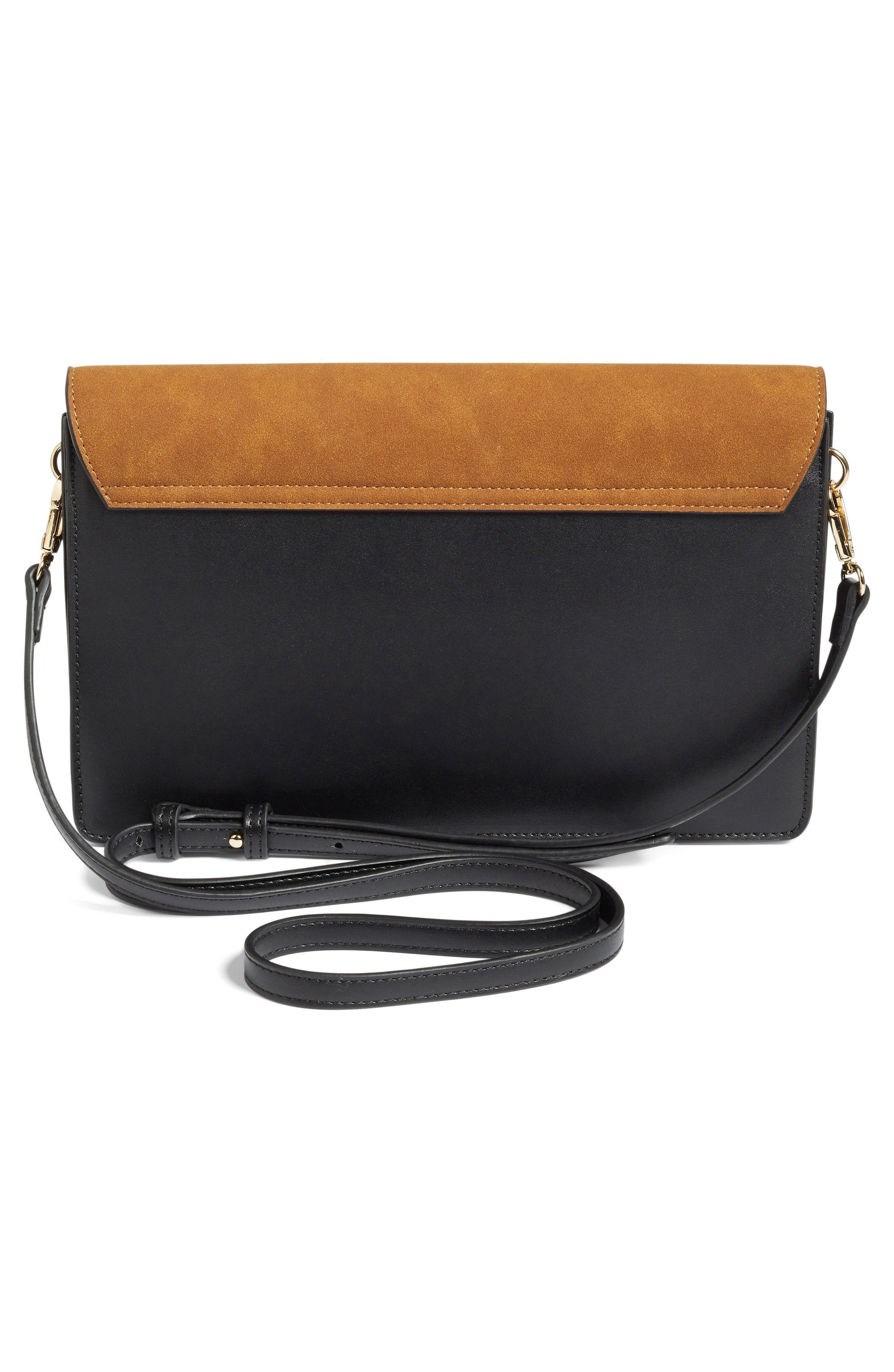 Leighton Colorblock Faux Leather Crossbody Bag,                             Alternate thumbnail 3, color,                             Black/Cognac
