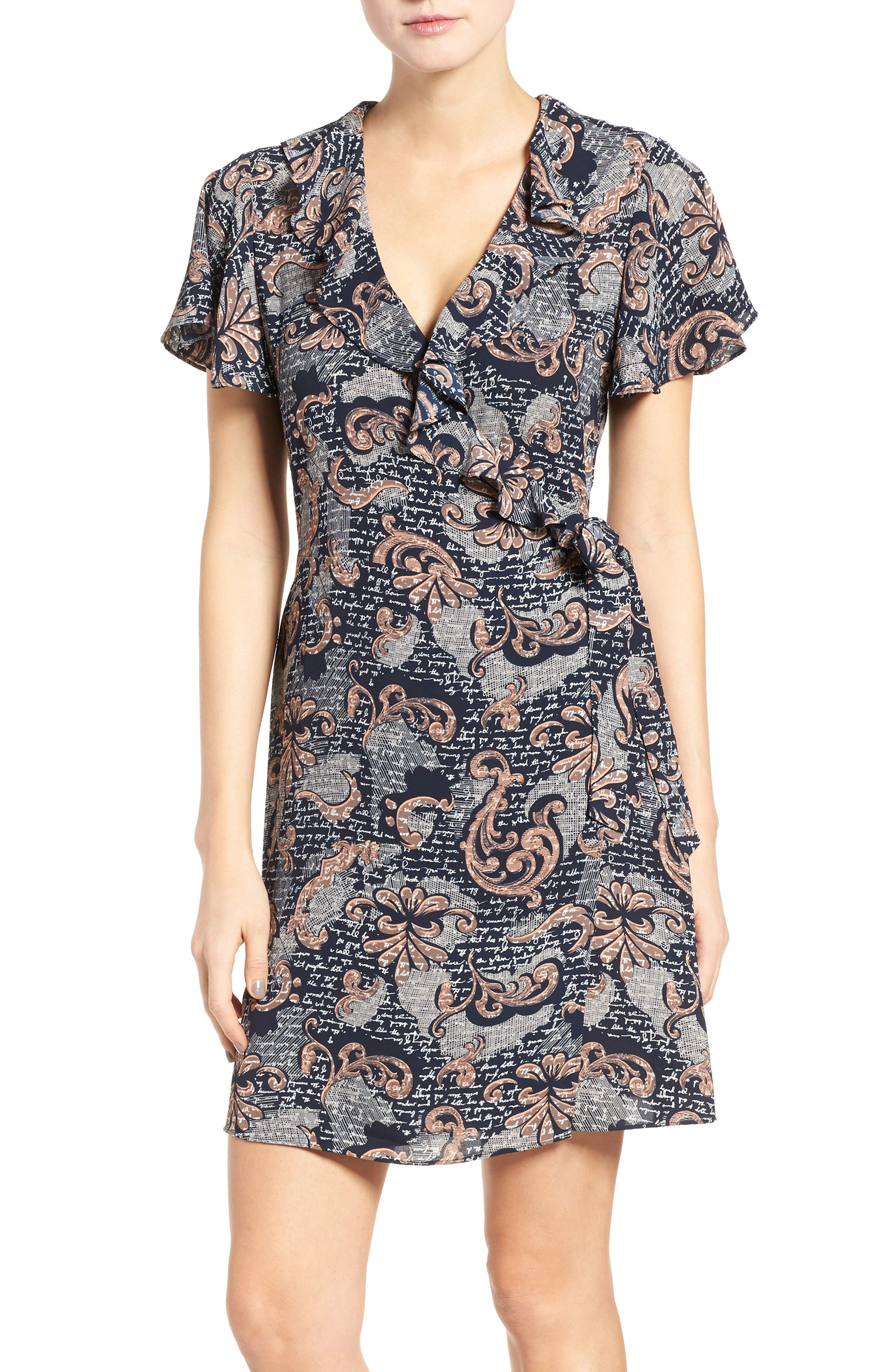 Alternate Image 1 Selected - Chelsea28 Print Wrap Minidress