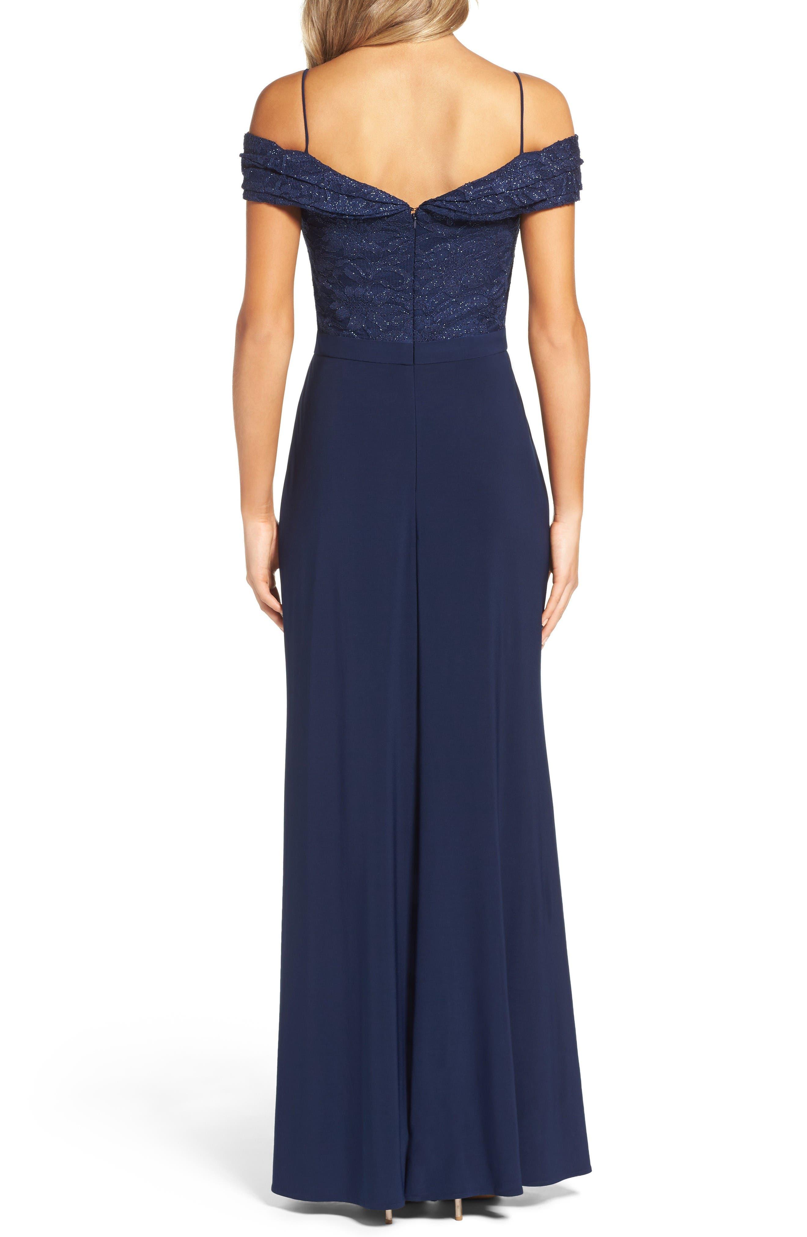 Alternate Image 2  - Morgan & Co. Sparkle Off the Shoulder Gown