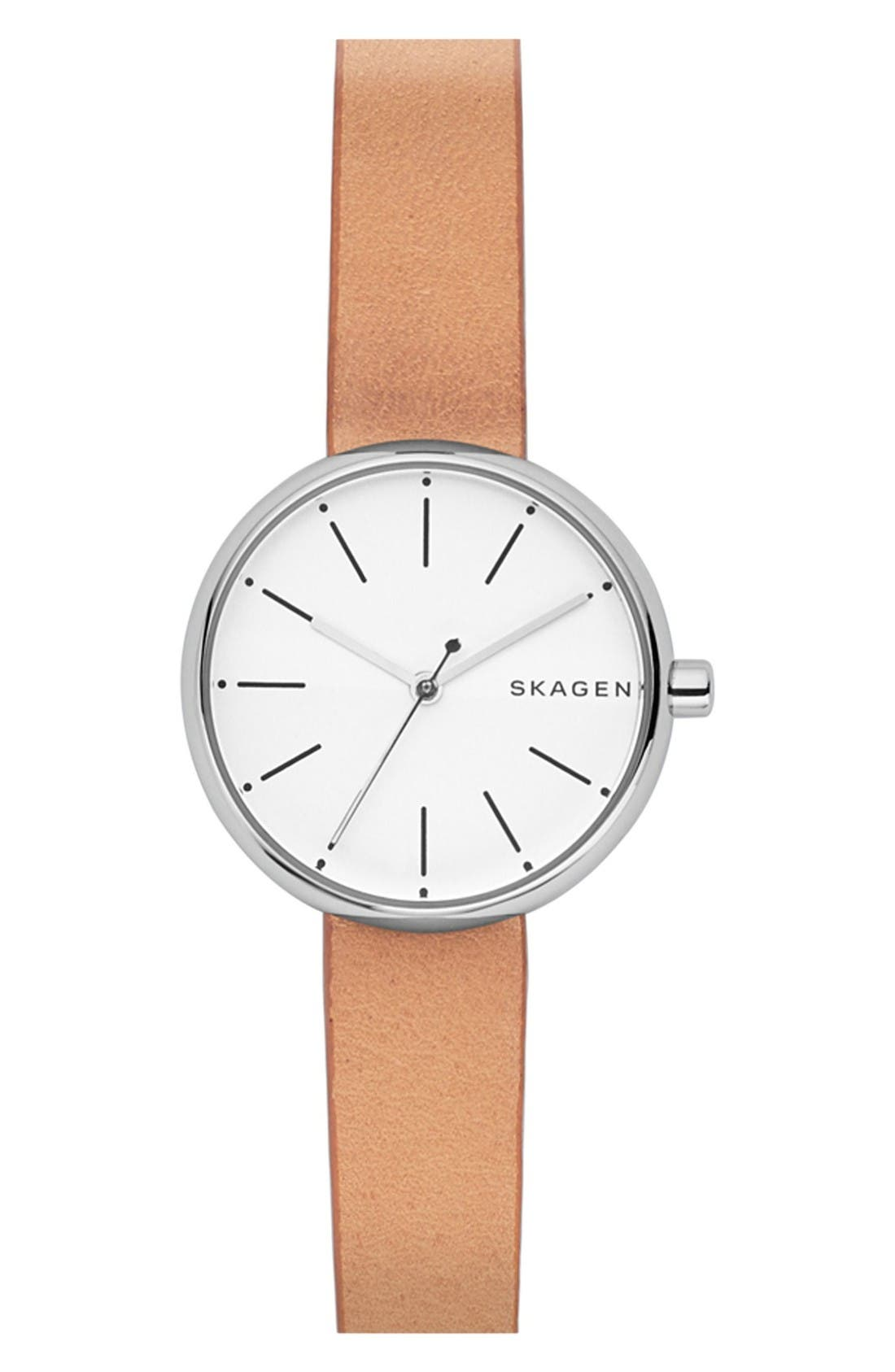 Round Leather Strap Watch, 30mm,                             Main thumbnail 1, color,                             Brown/ White/ Silver