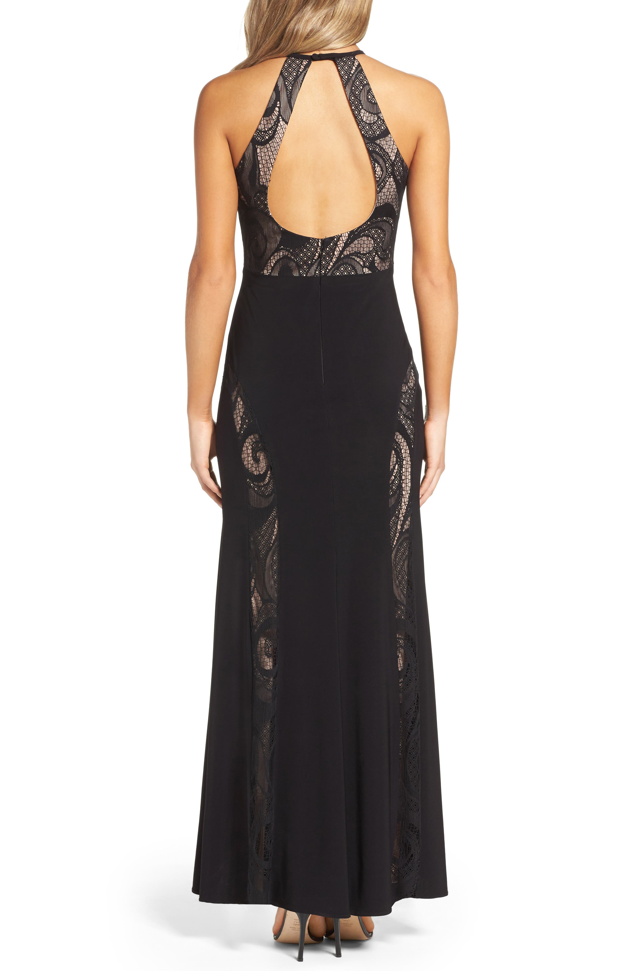 A-Line Gown,                             Alternate thumbnail 2, color,                             Black