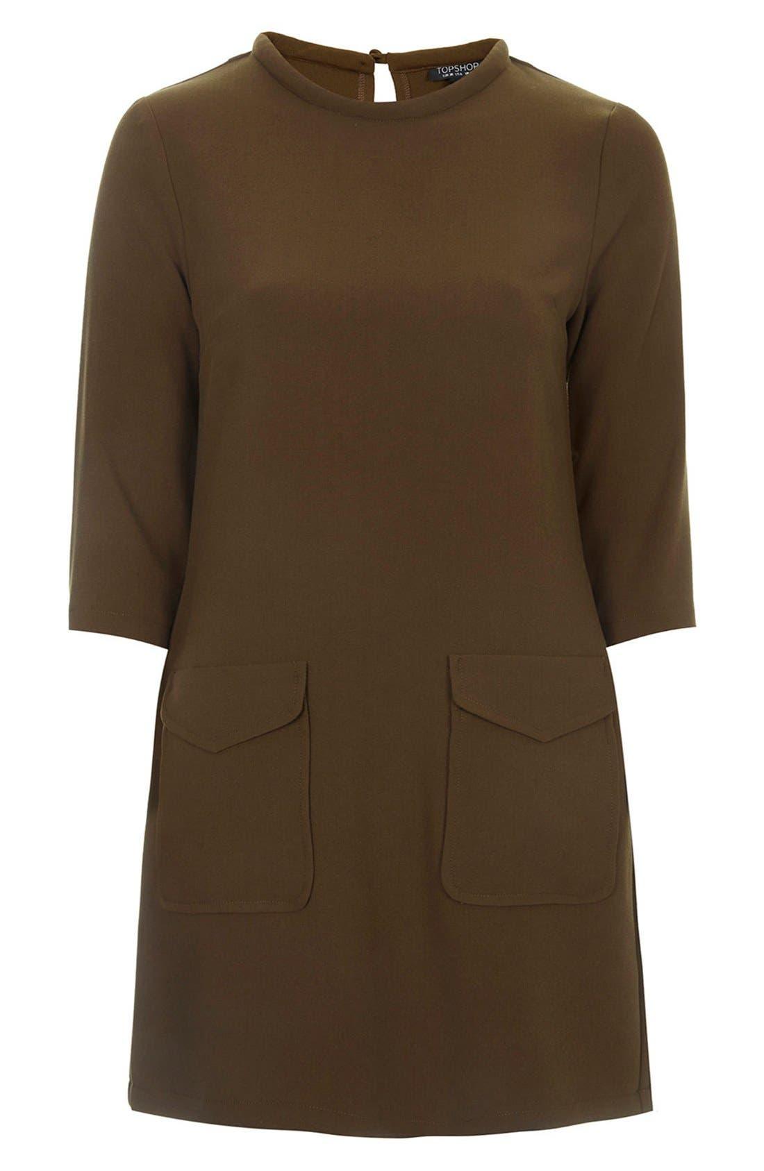 Utility Pocket Tunic Dress,                             Alternate thumbnail 3, color,                             Olive