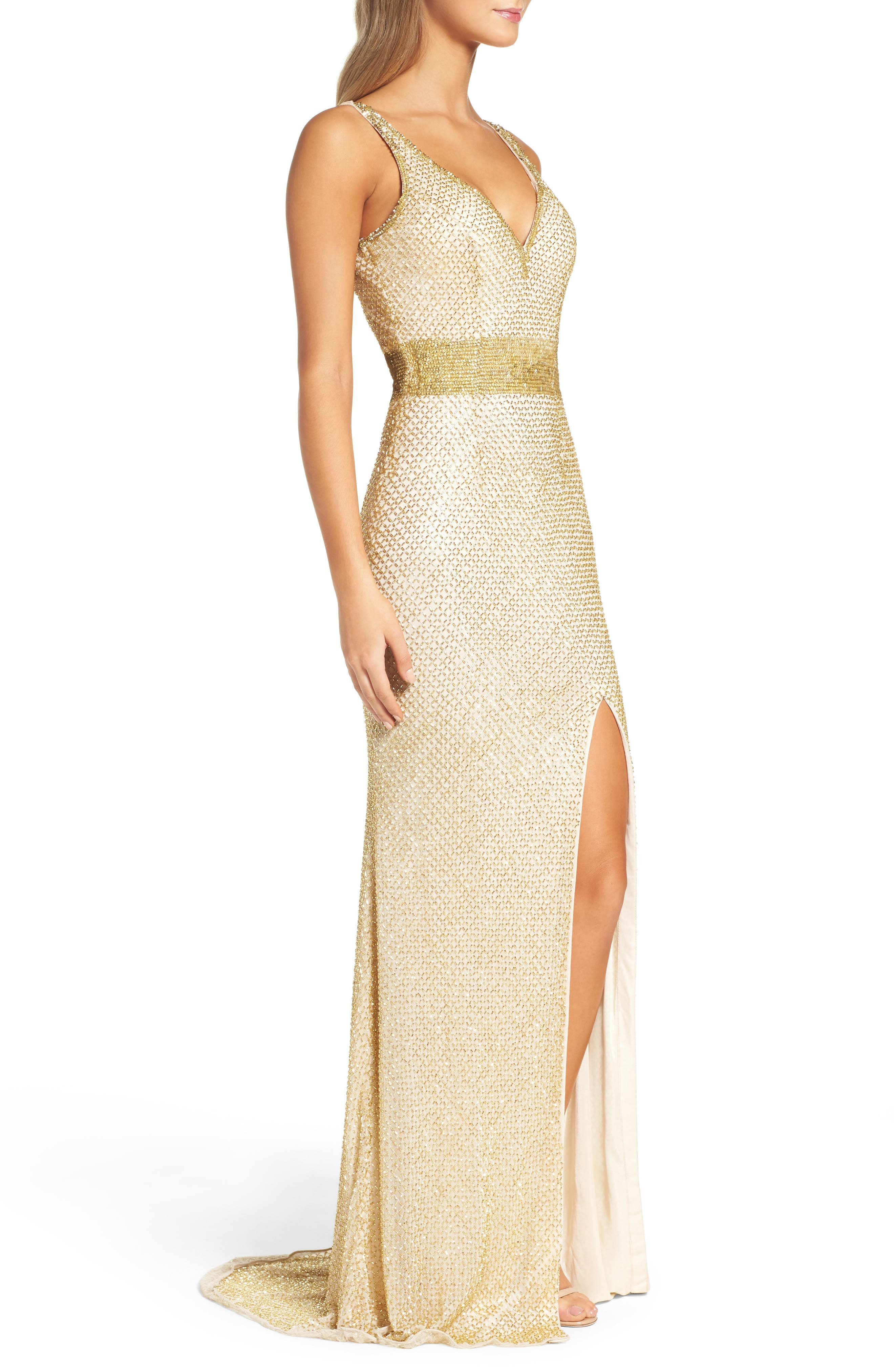 Beaded Mesh Gown,                             Alternate thumbnail 2, color,                             Gold