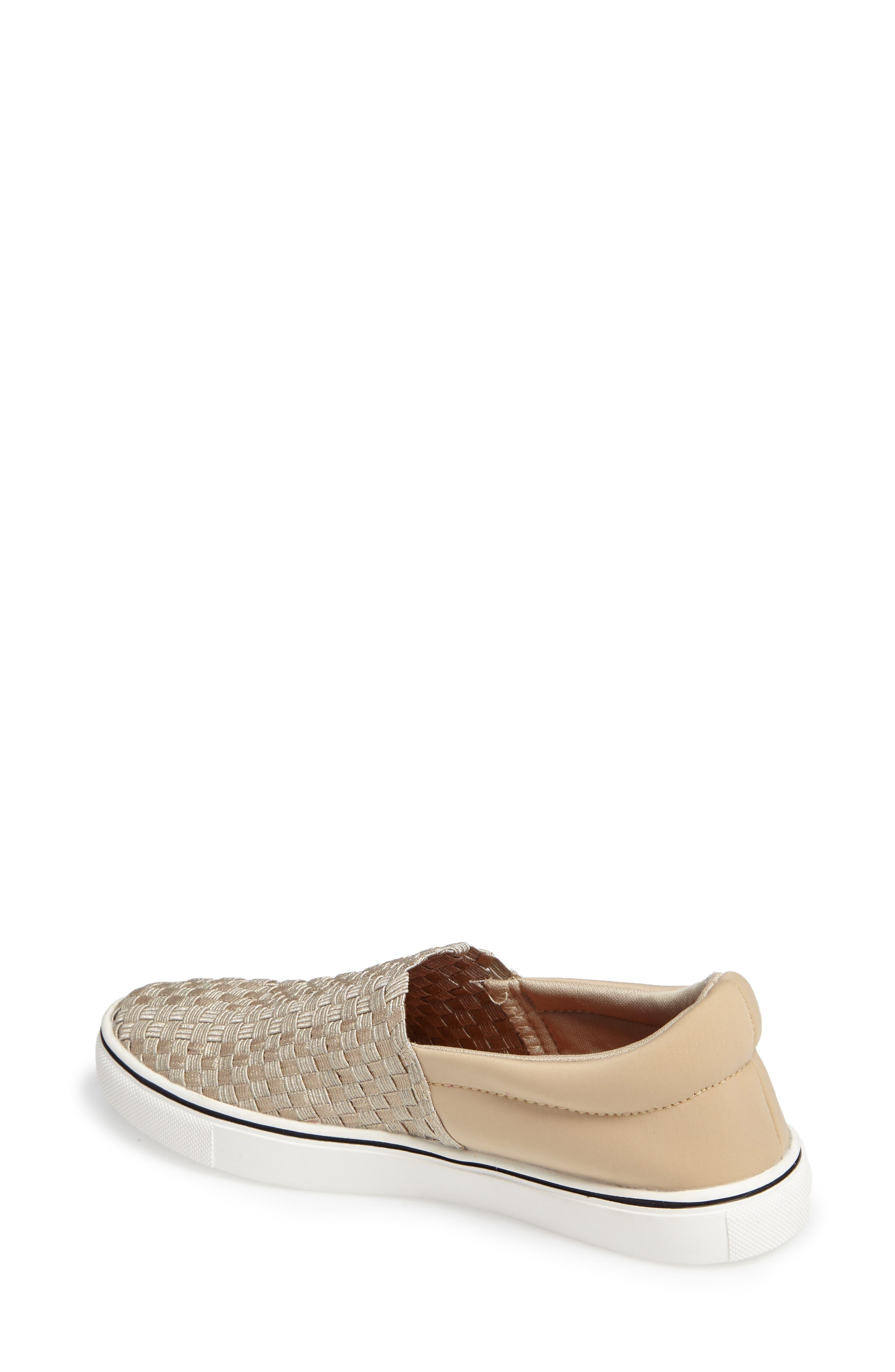 Ofelia Woven Elastic Sneaker,                             Alternate thumbnail 2, color,                             Light Gold Fabric
