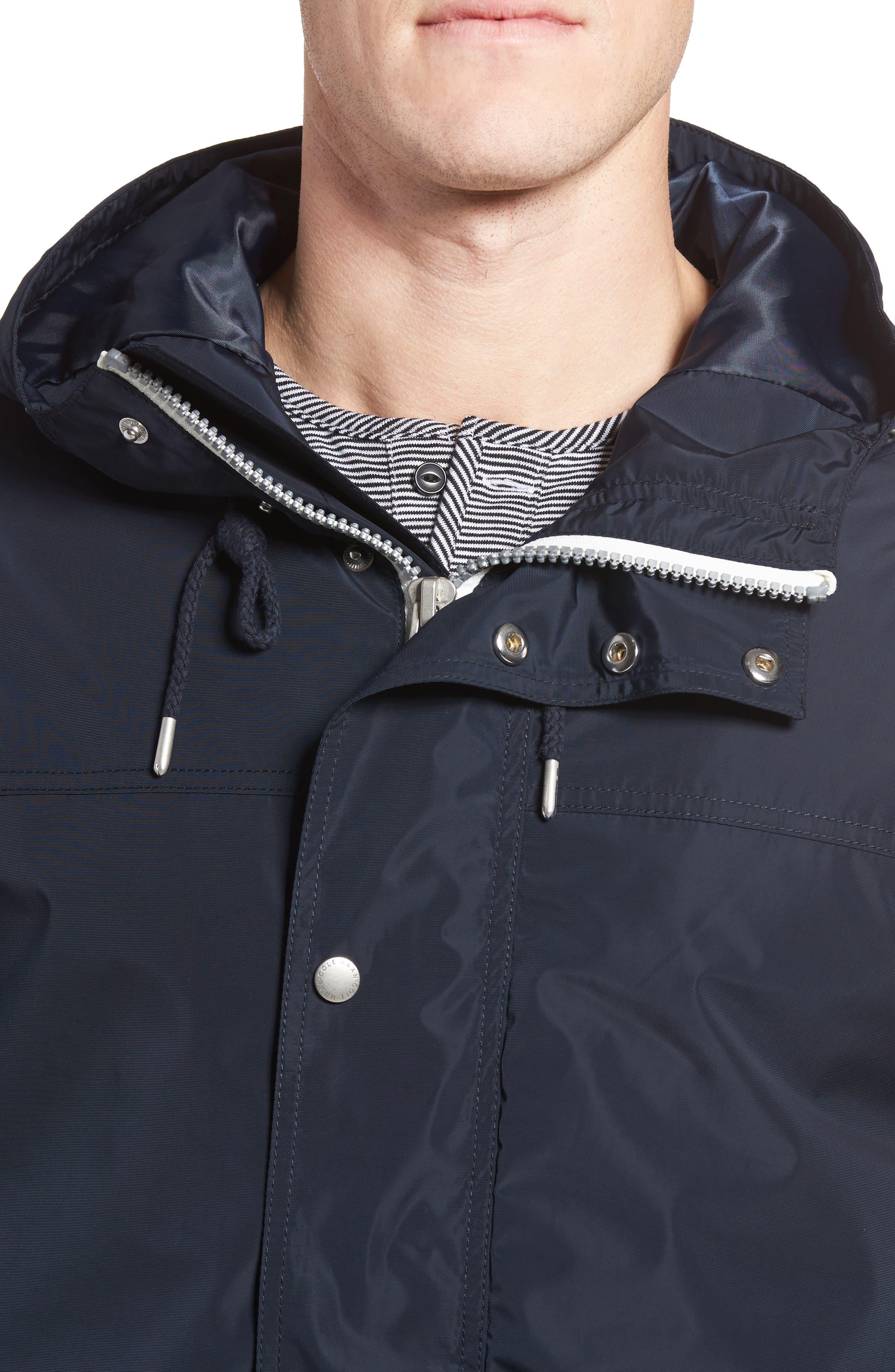 Packable Hooded Rain Jacket,                             Alternate thumbnail 4, color,                             Navy