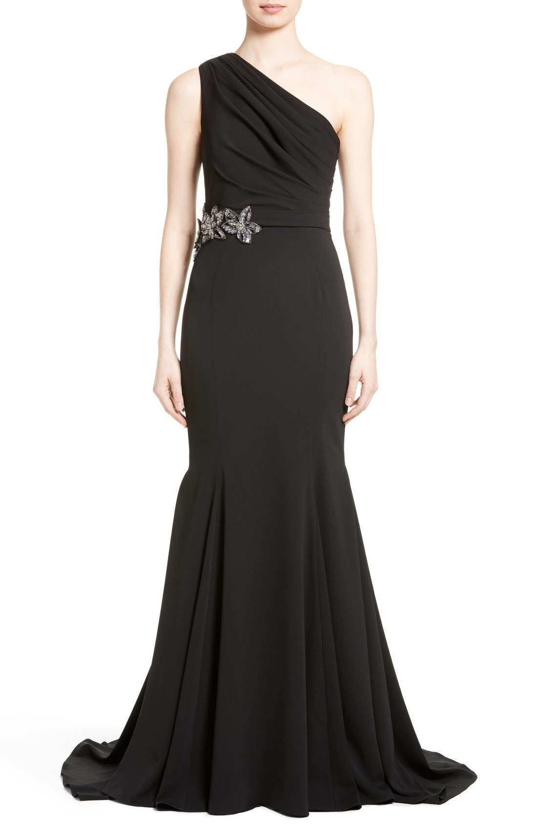 Badgley Mischka Couture Odessa Embellished One-Shoulder Gown,                             Main thumbnail 1, color,                             Black