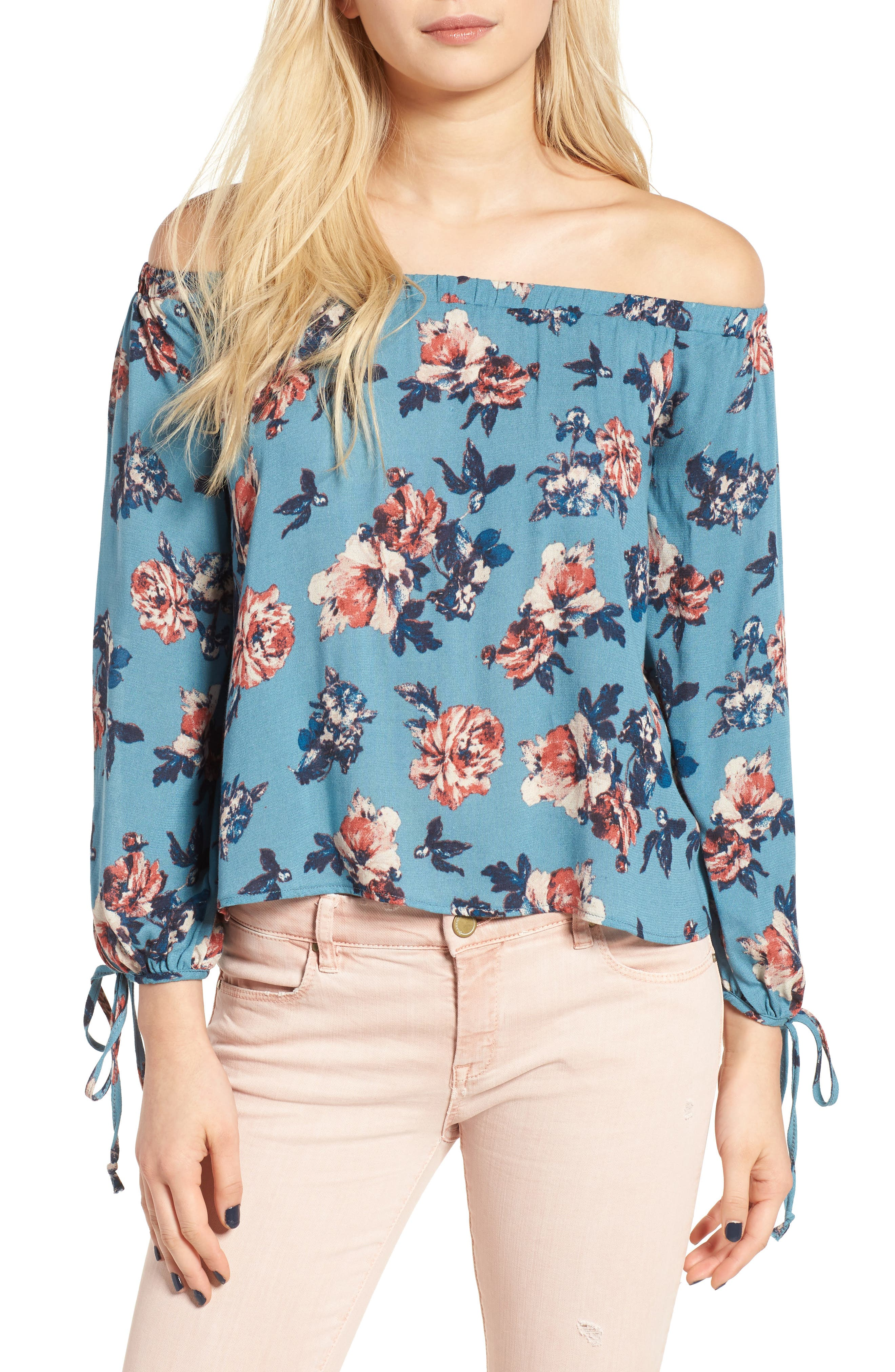 Main Image - Lush Floral Print Off the Shoulder Blouse