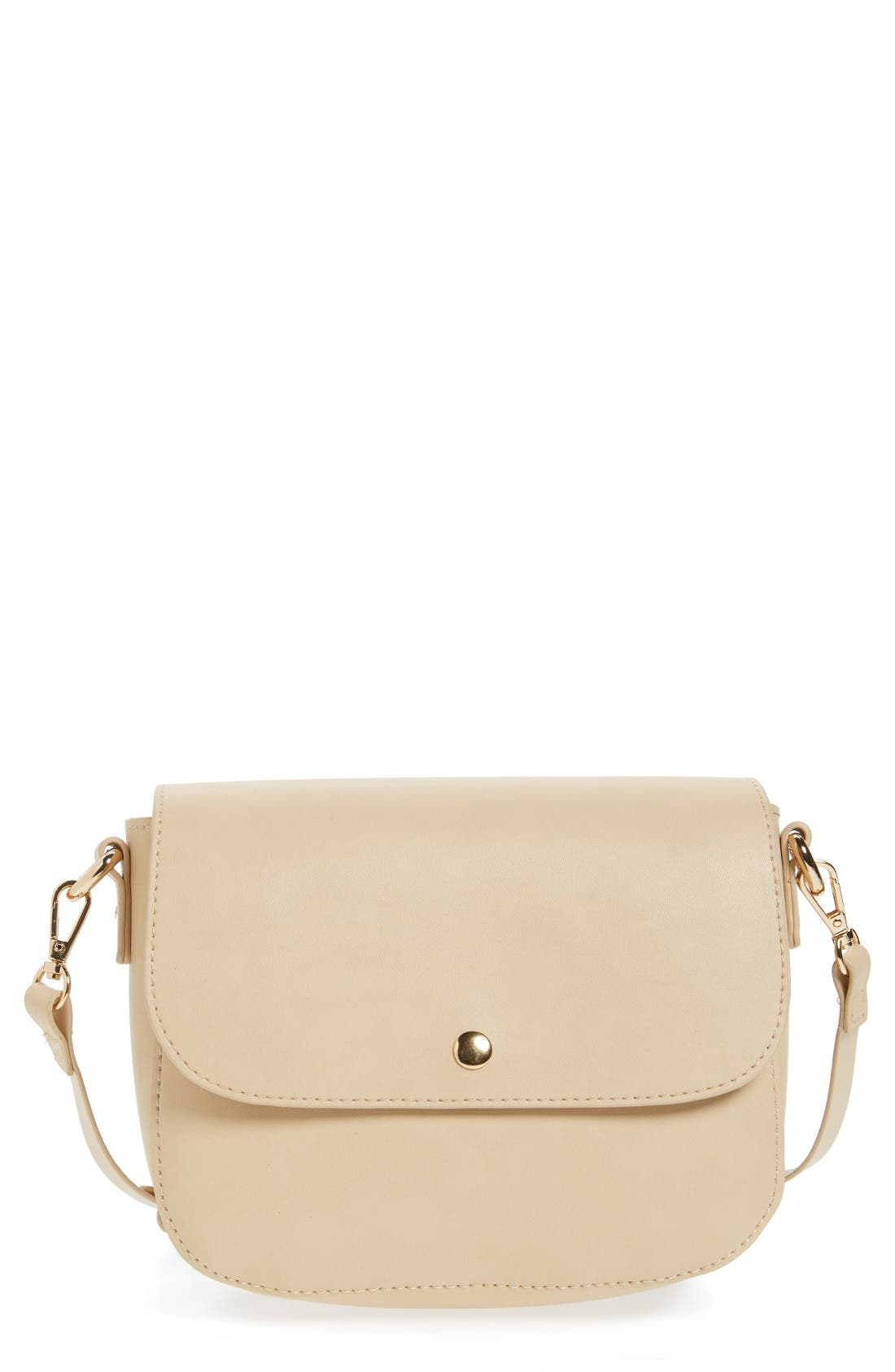 Minimal Faux Leather Crossbody Bag,                             Main thumbnail 1, color,                             Beige