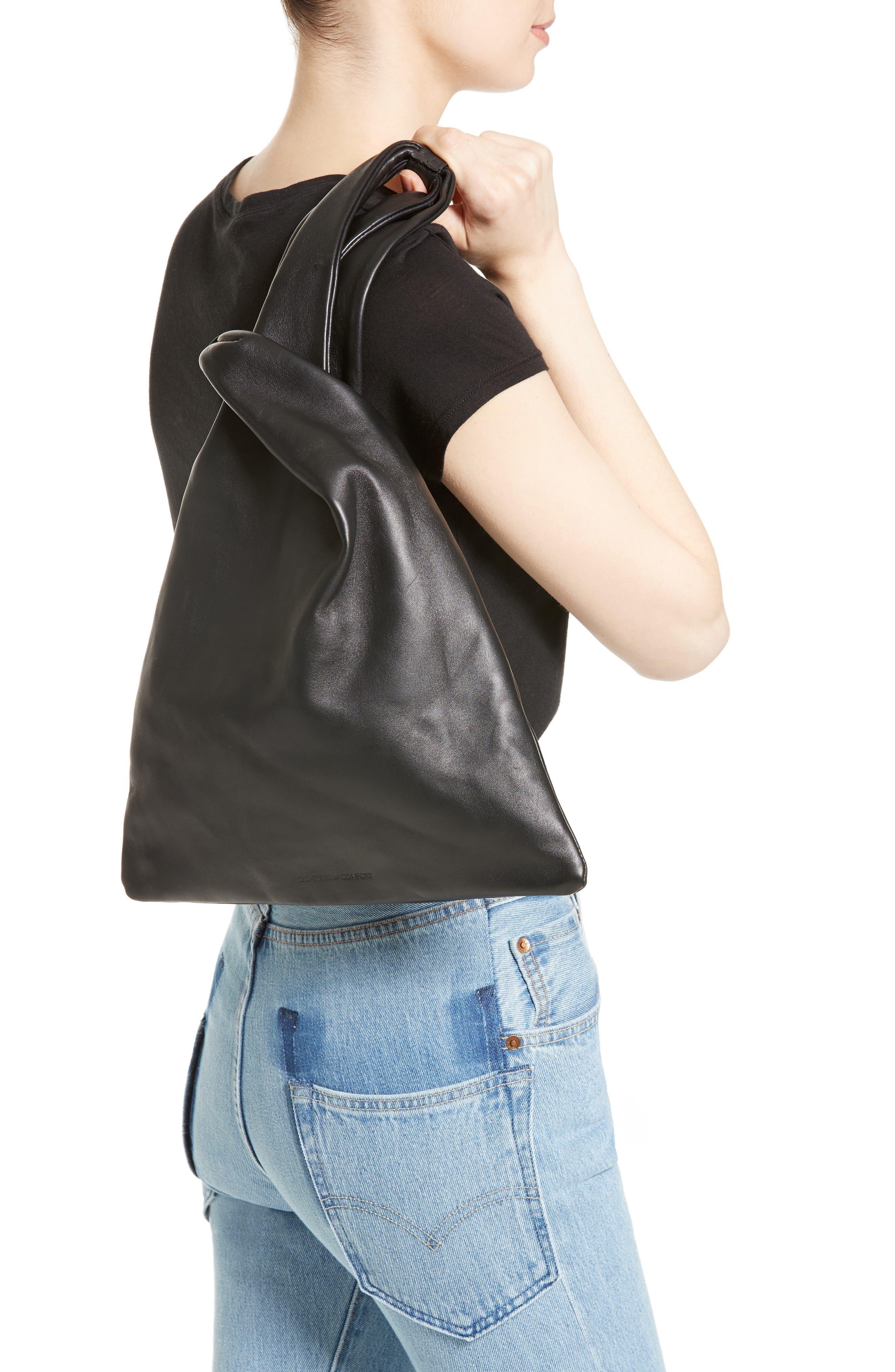Large Nappa Leather Malia Bag,                             Alternate thumbnail 2, color,                             Black
