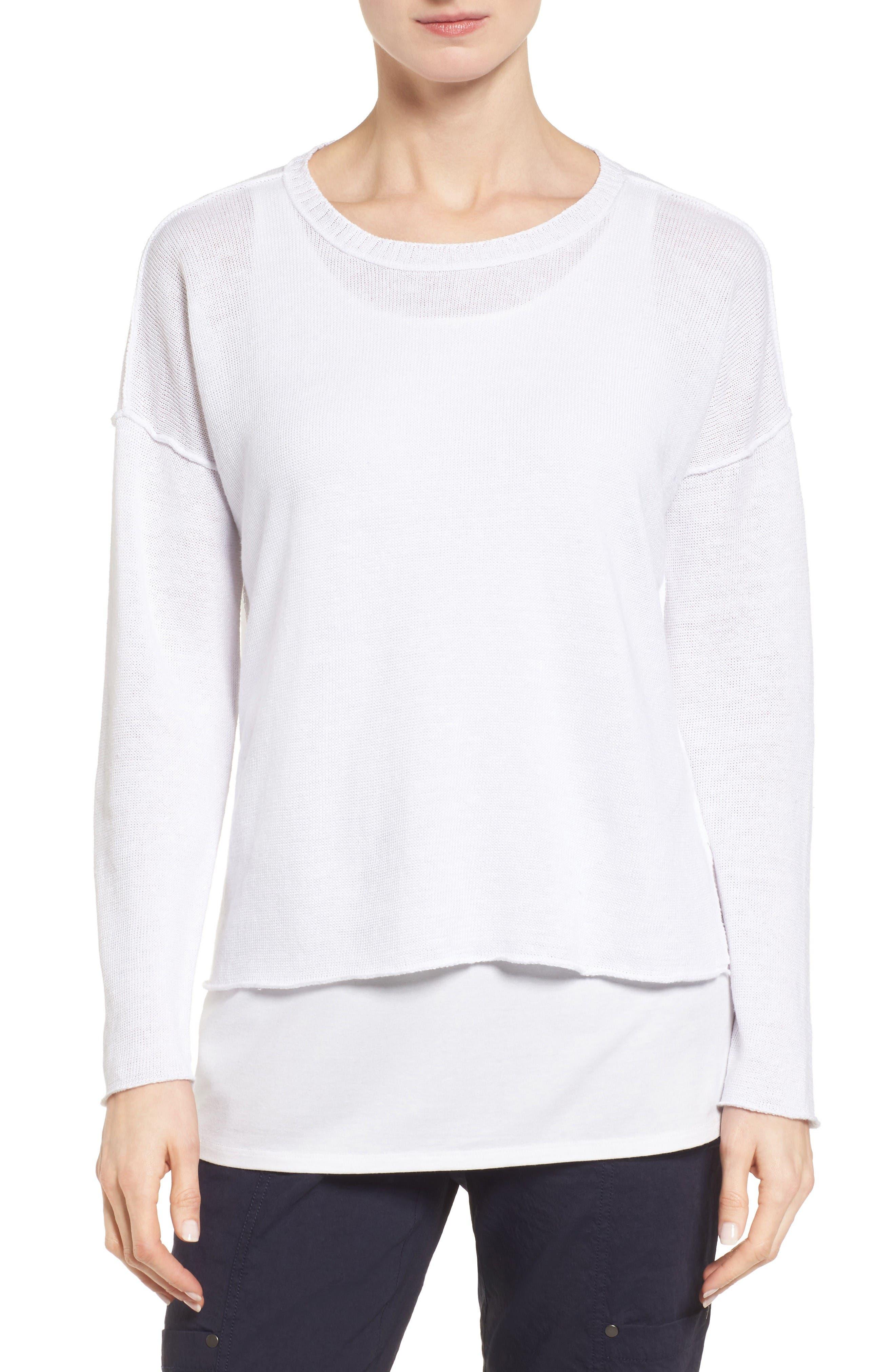 Organic Linen Sweater,                         Main,                         color, White