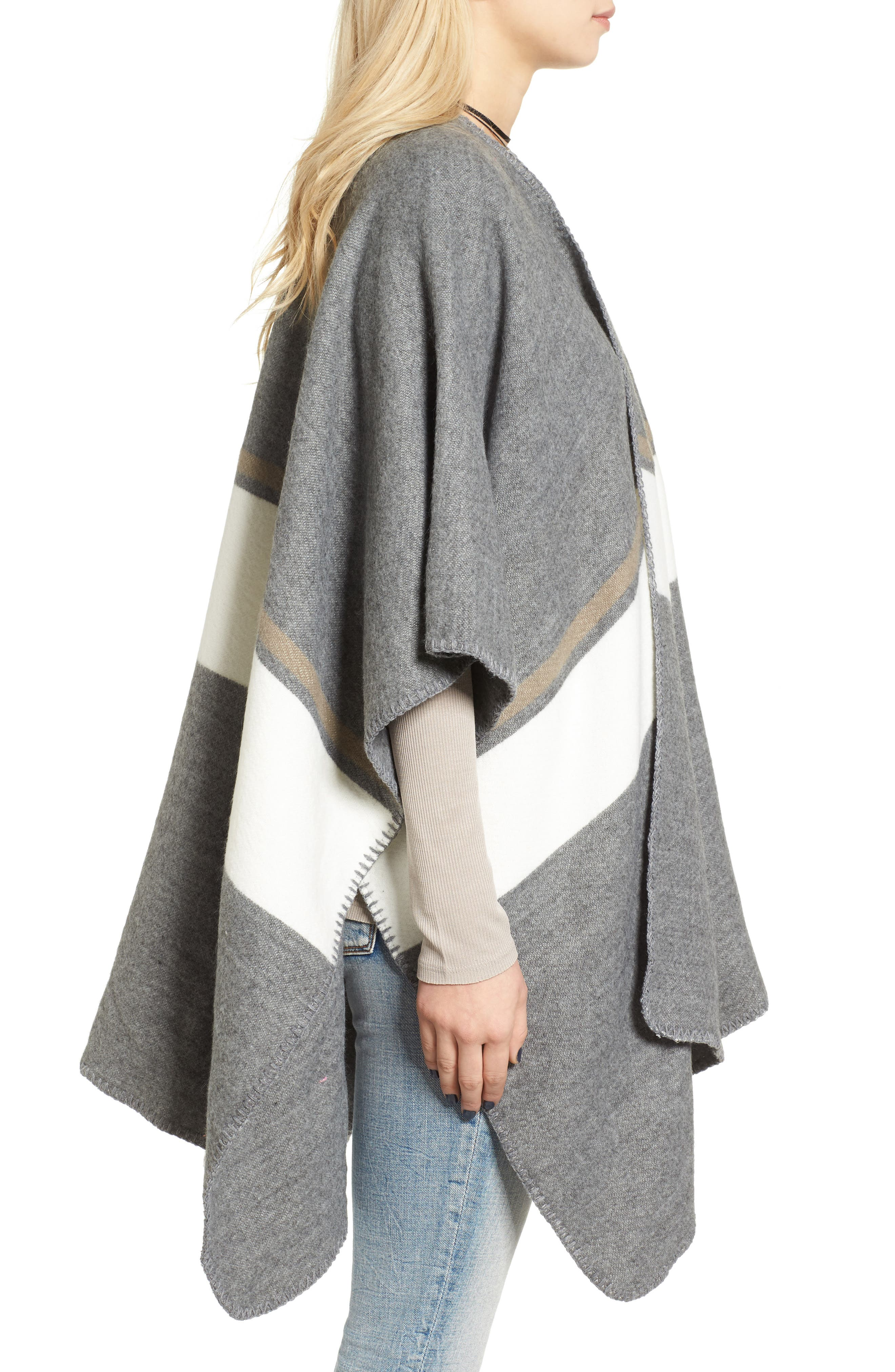 Stripe Poncho,                             Alternate thumbnail 3, color,                             Grey