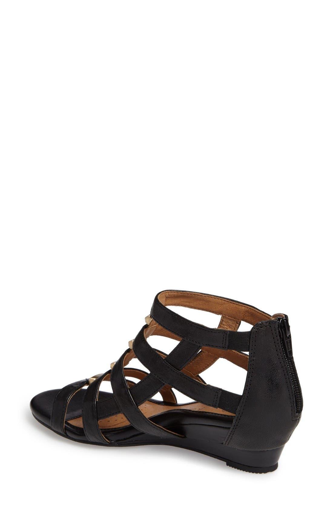 Rio Gladiator Wedge Sandal,                             Alternate thumbnail 2, color,                             Black Leather