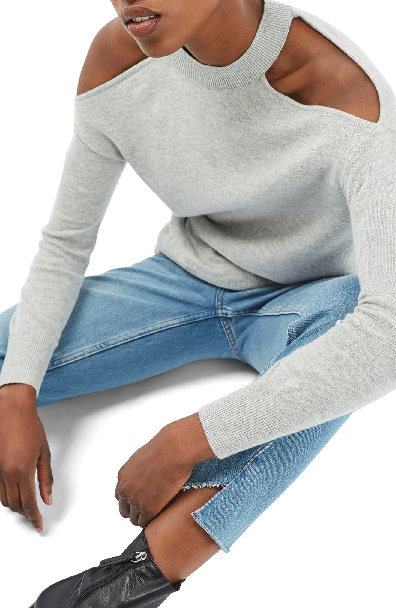 Alternate Image 3  - Topshop Cold Shoulder Sweater